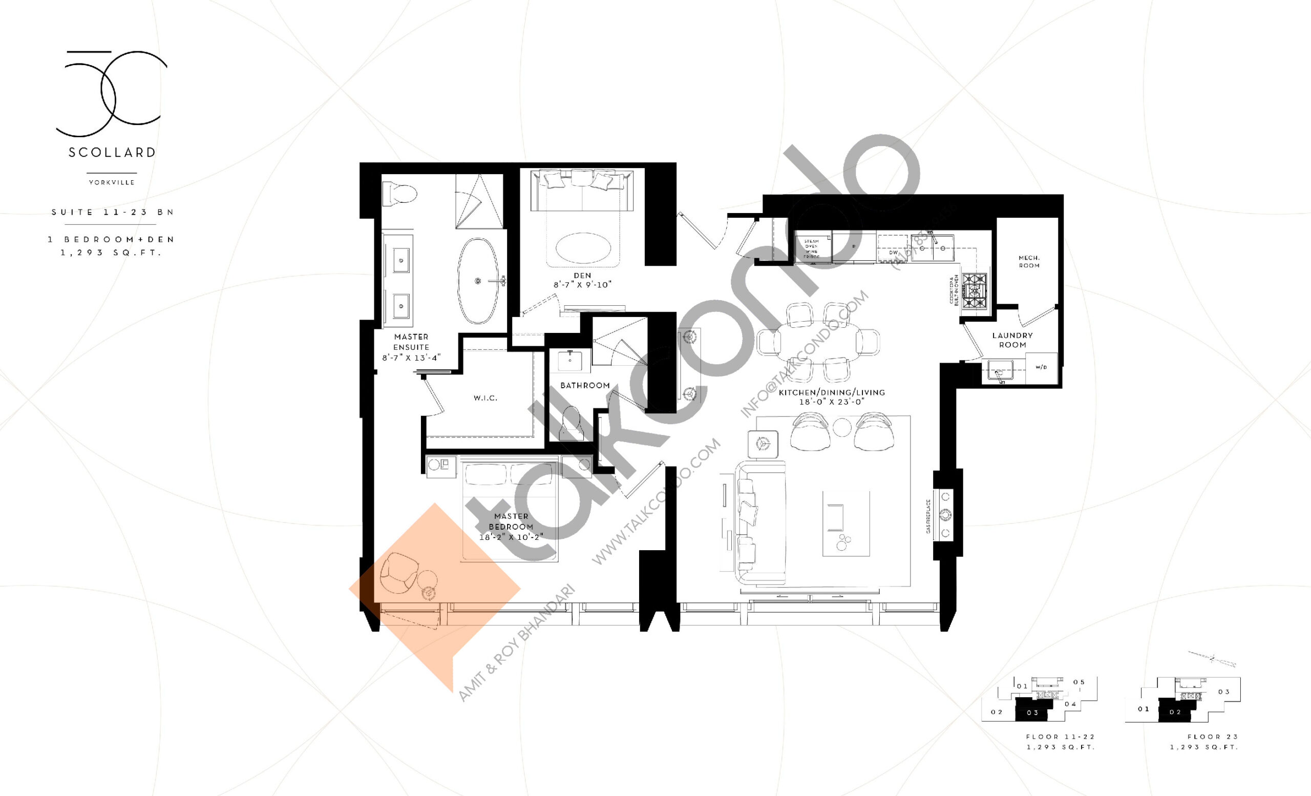 Suite 11-23 BN Floor Plan at Fifty Scollard Condos - 1293 sq.ft