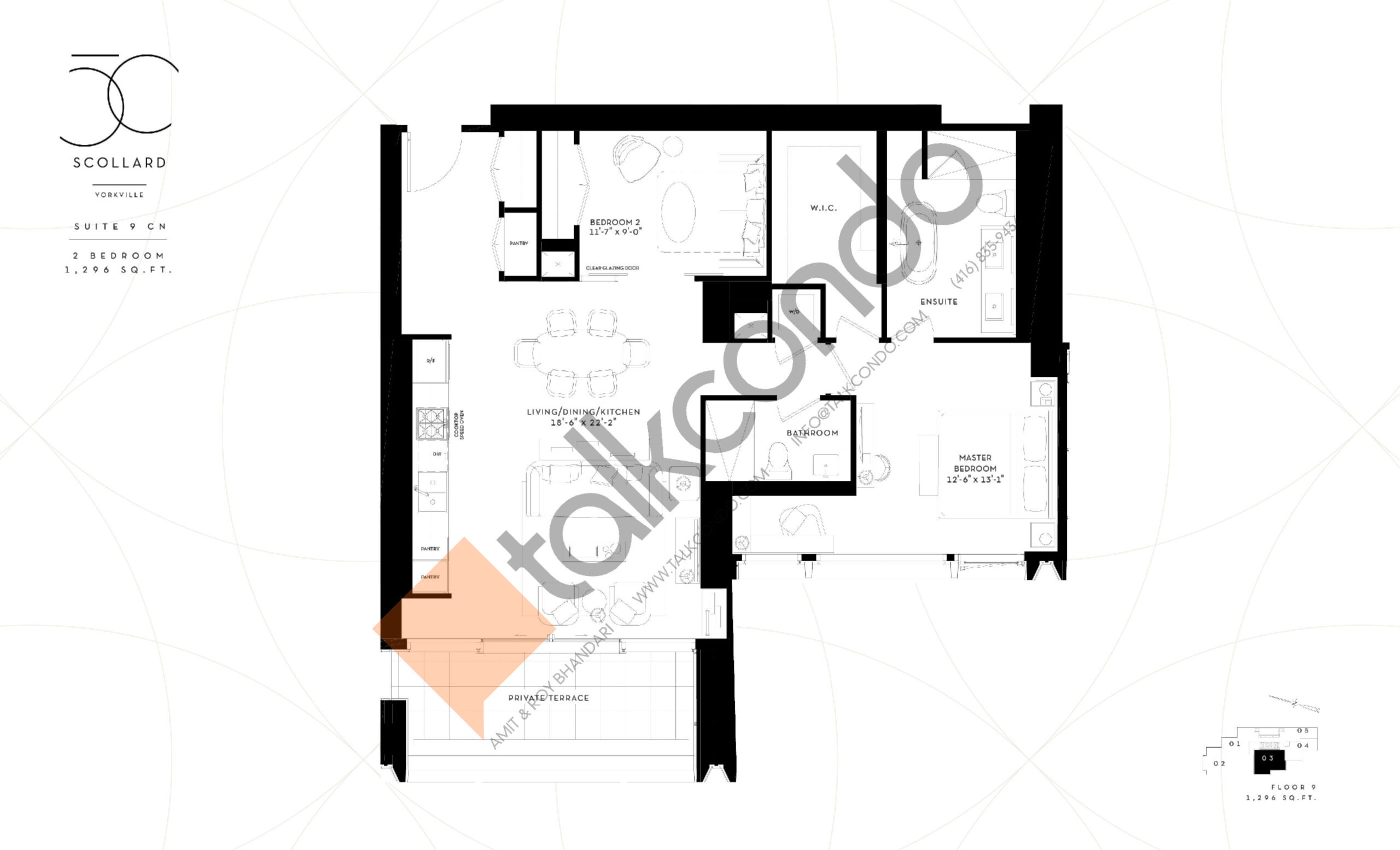 Suite 9 CN Floor Plan at Fifty Scollard Condos - 1296 sq.ft
