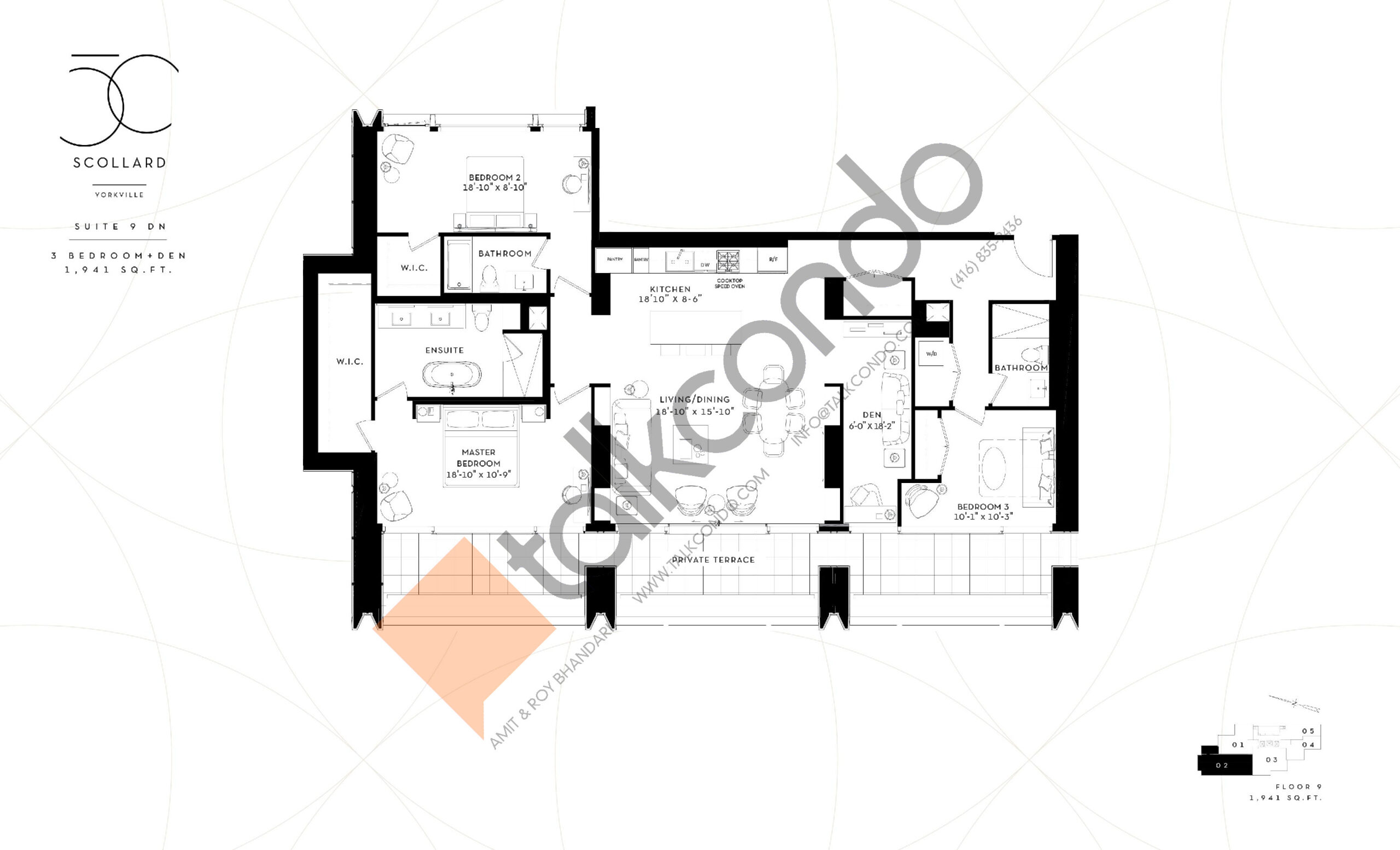 Suite 9 DN Floor Plan at Fifty Scollard Condos - 1941 sq.ft