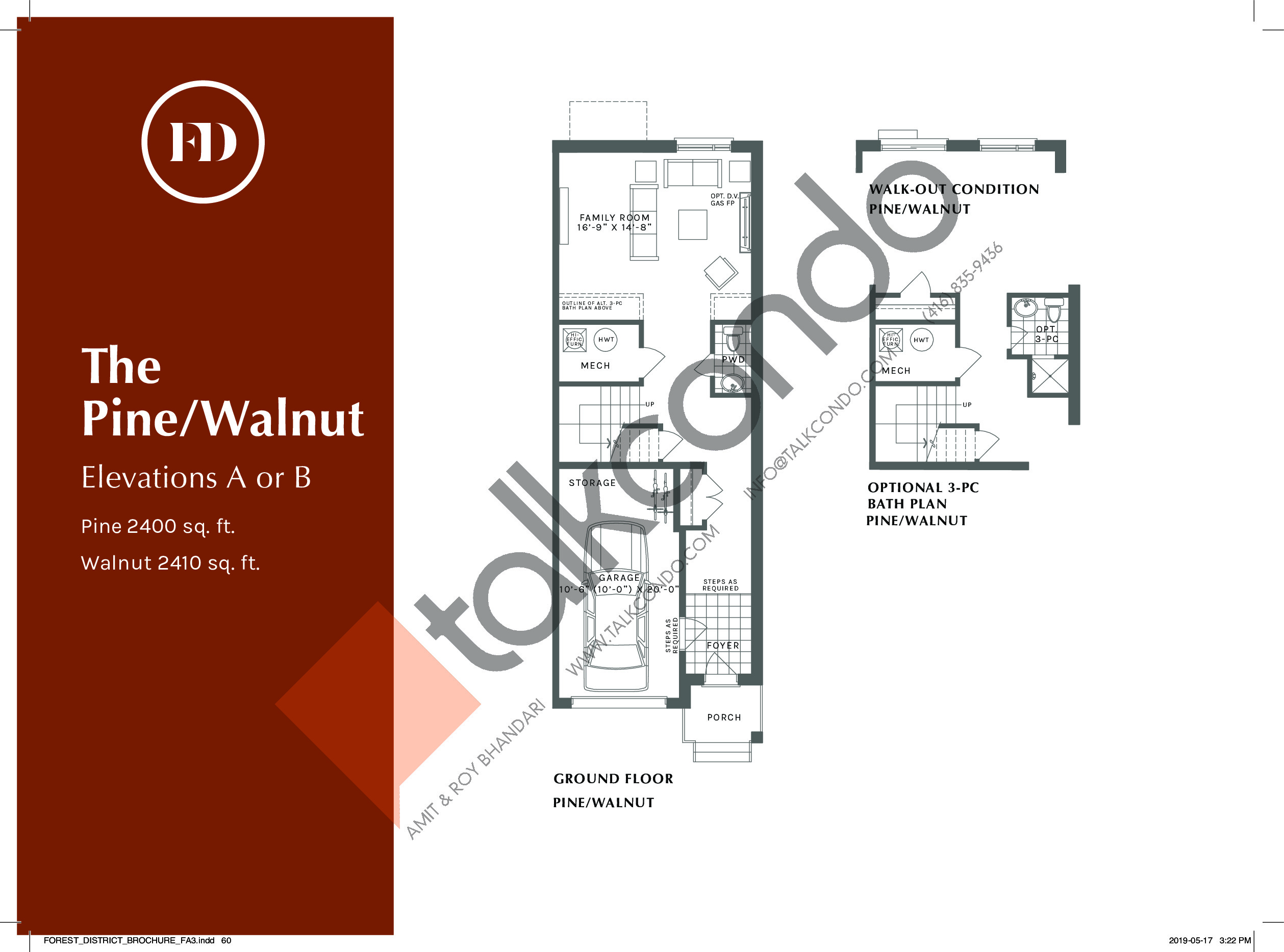 The Pine/Walnut (1/2) Floor Plan at Forest District Towns - 2410 sq.ft