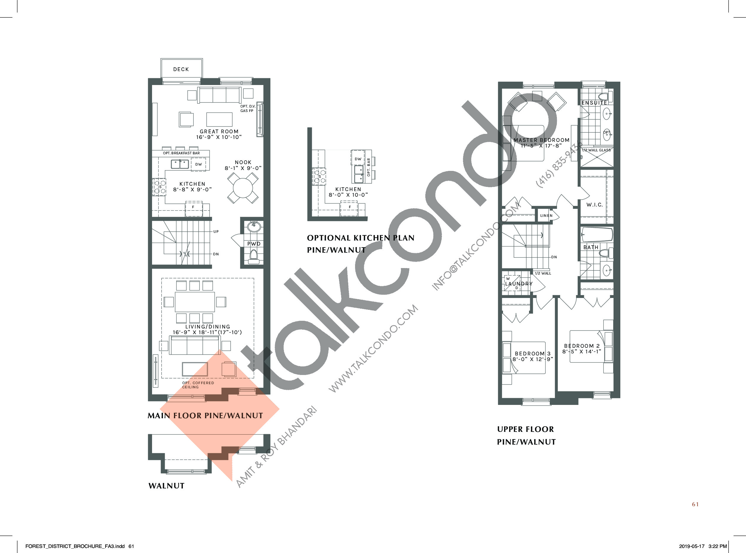 The Pine/Walnut (2/2) Floor Plan at Forest District Towns - 2410 sq.ft