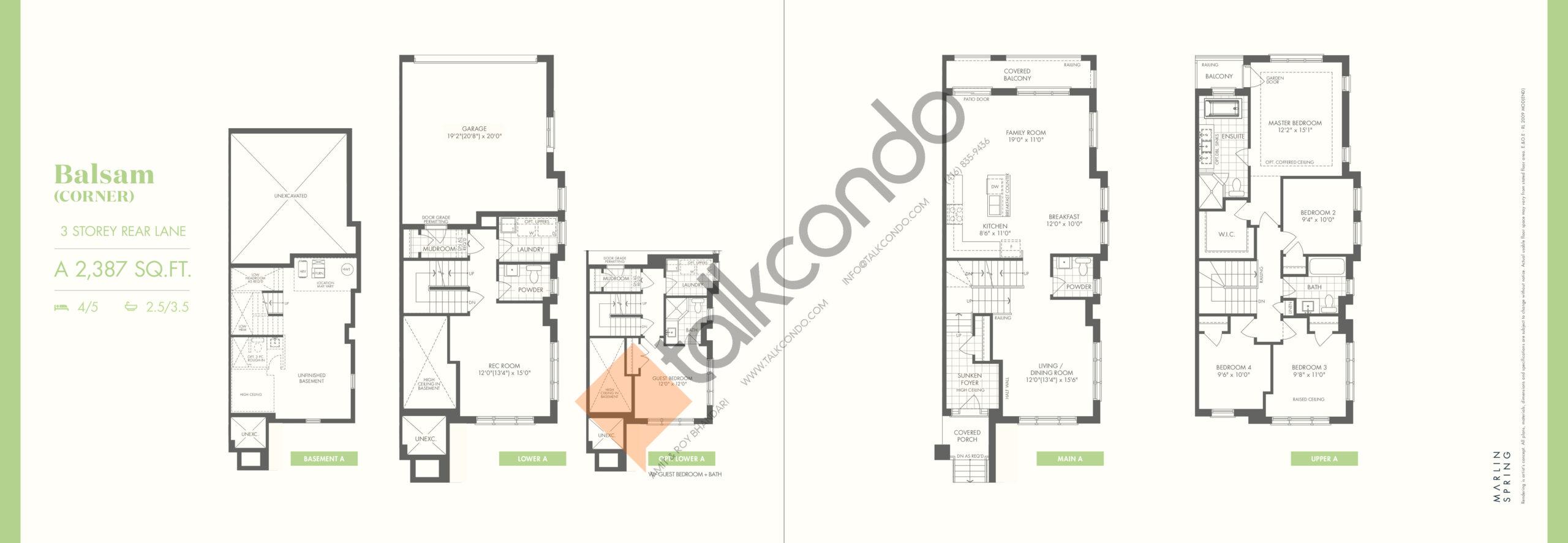 Balsam (Corner) A Floor Plan at Ivylea Towns - 2387 sq.ft