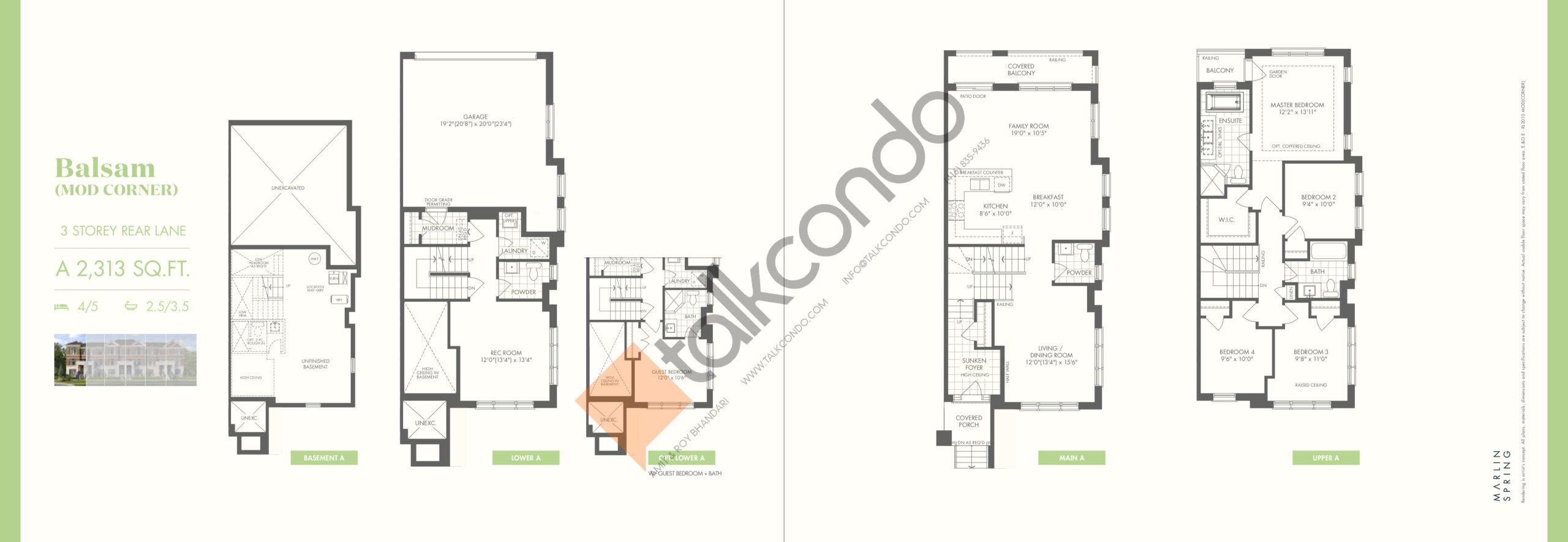 Balsam (Mod Corner) A Floor Plan at Ivylea Towns - 2313 sq.ft