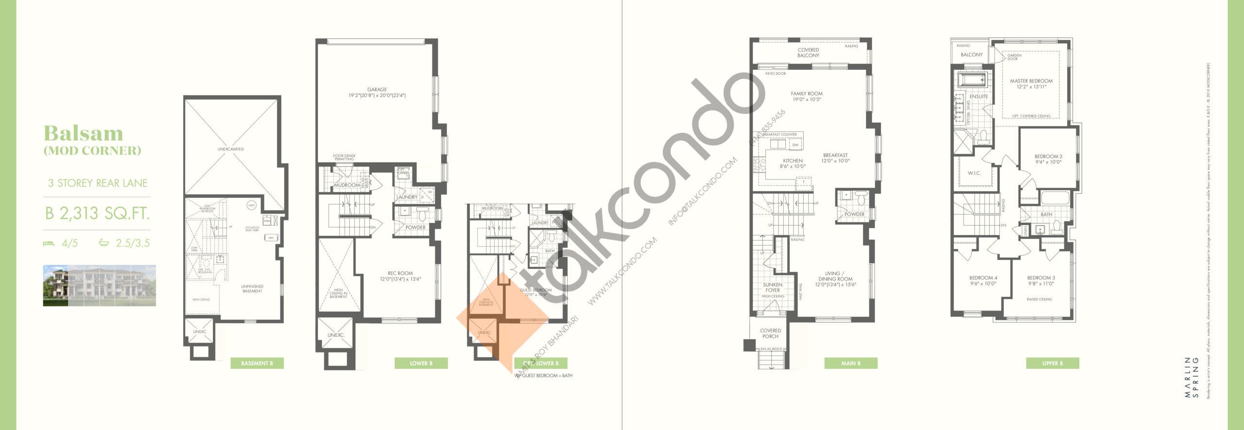 Balsam (Mod Corner) B Floor Plan at Ivylea Towns - 2313 sq.ft