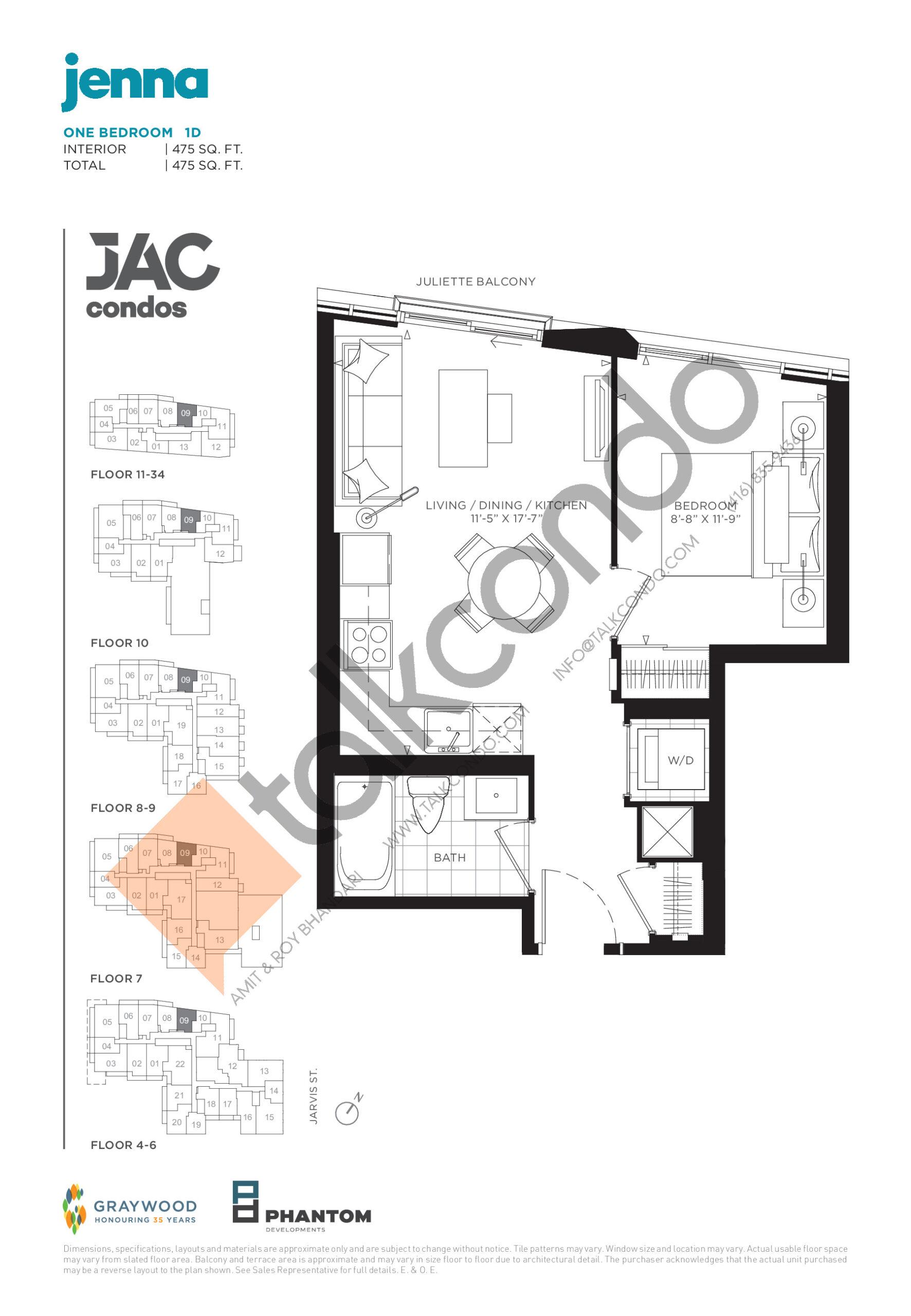 Jenna Floor Plan at JAC Condos - 475 sq.ft