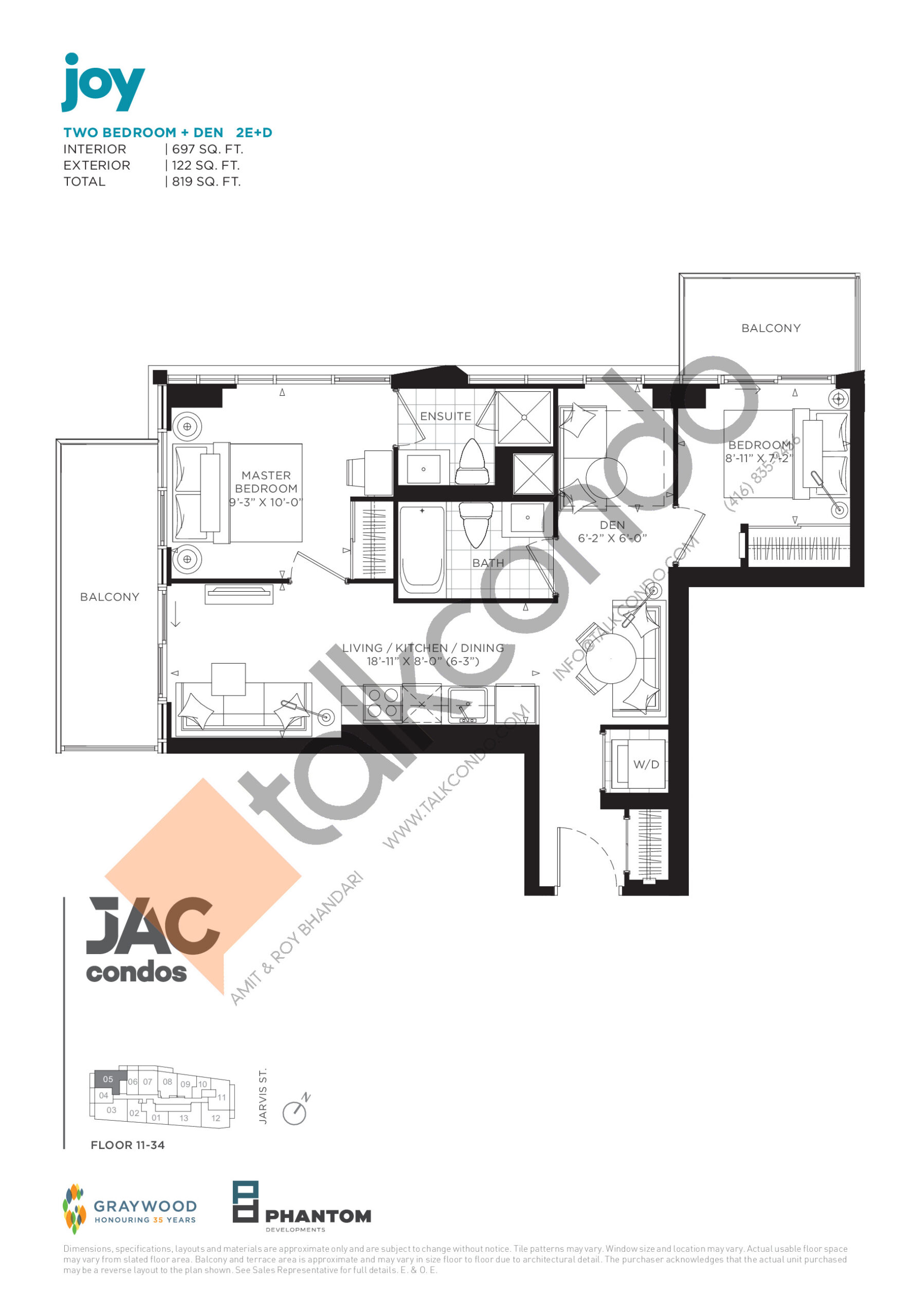Joy Floor Plan at JAC Condos - 697 sq.ft