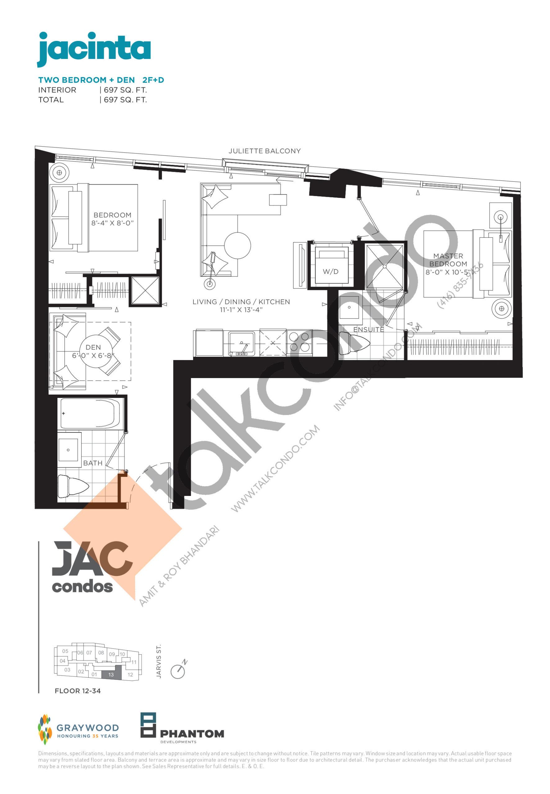 Jacinta Floor Plan at JAC Condos - 697 sq.ft