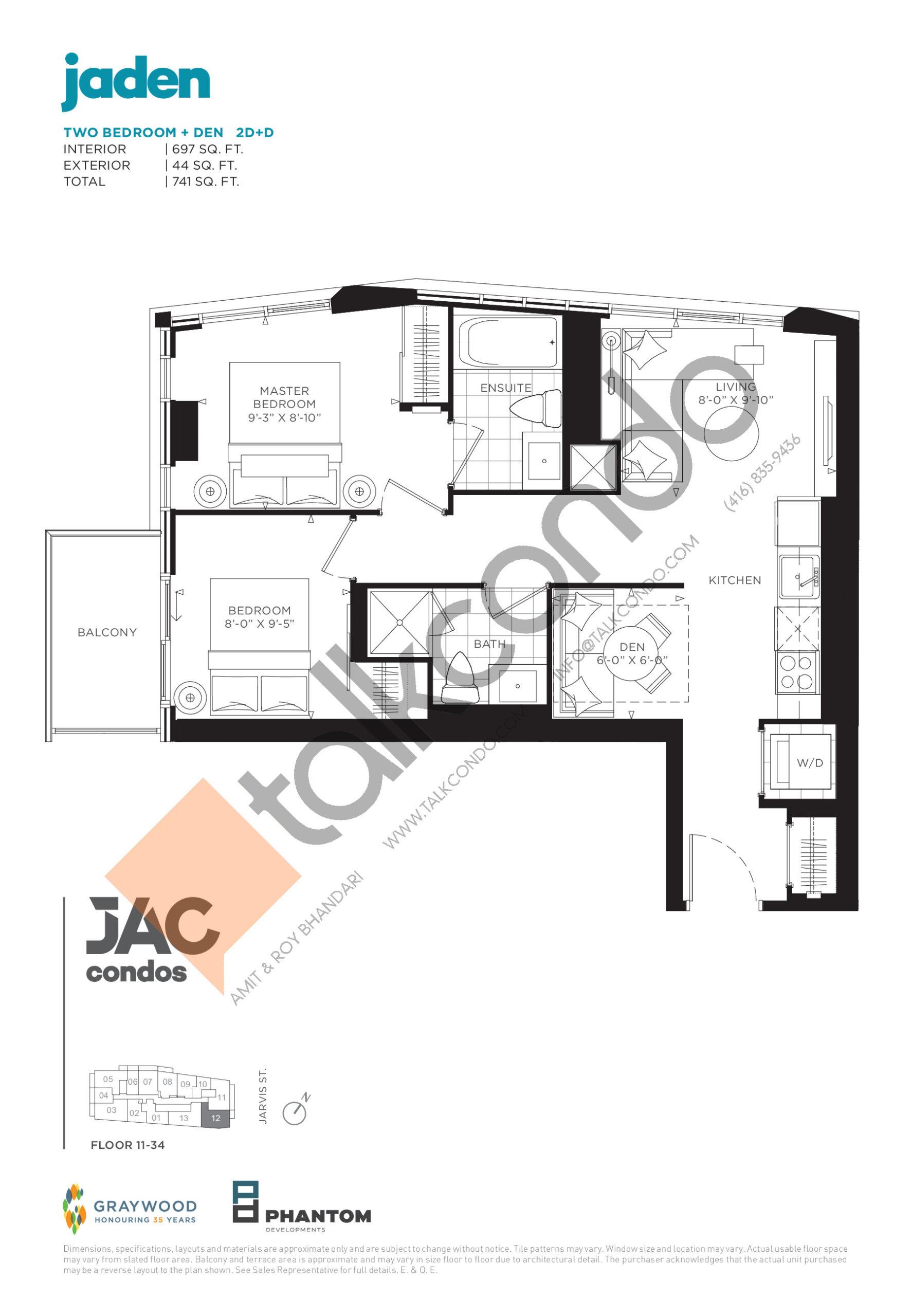 Jaden Floor Plan at JAC Condos - 697 sq.ft