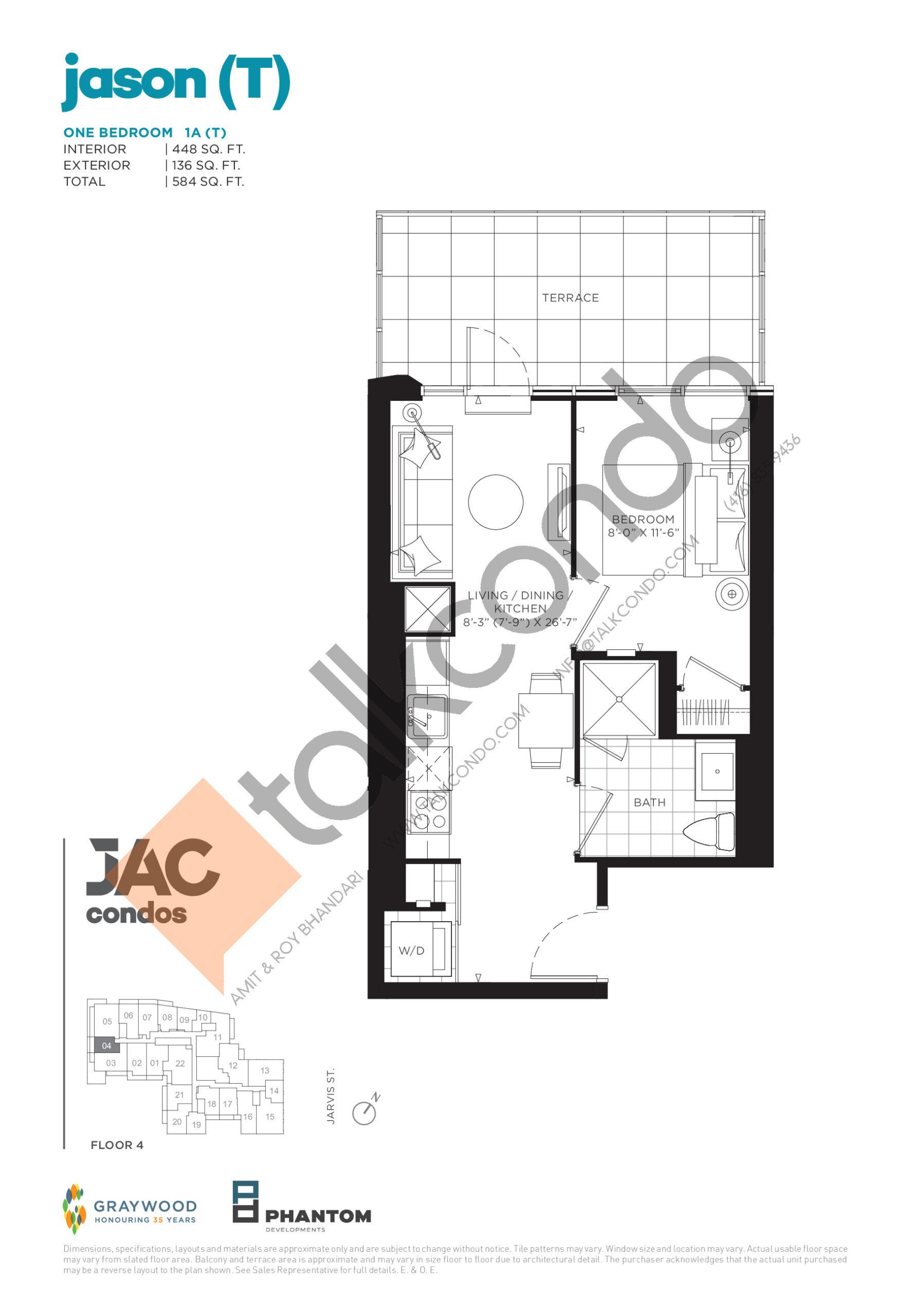 Jason (T) Floor Plan at JAC Condos - 448 sq.ft