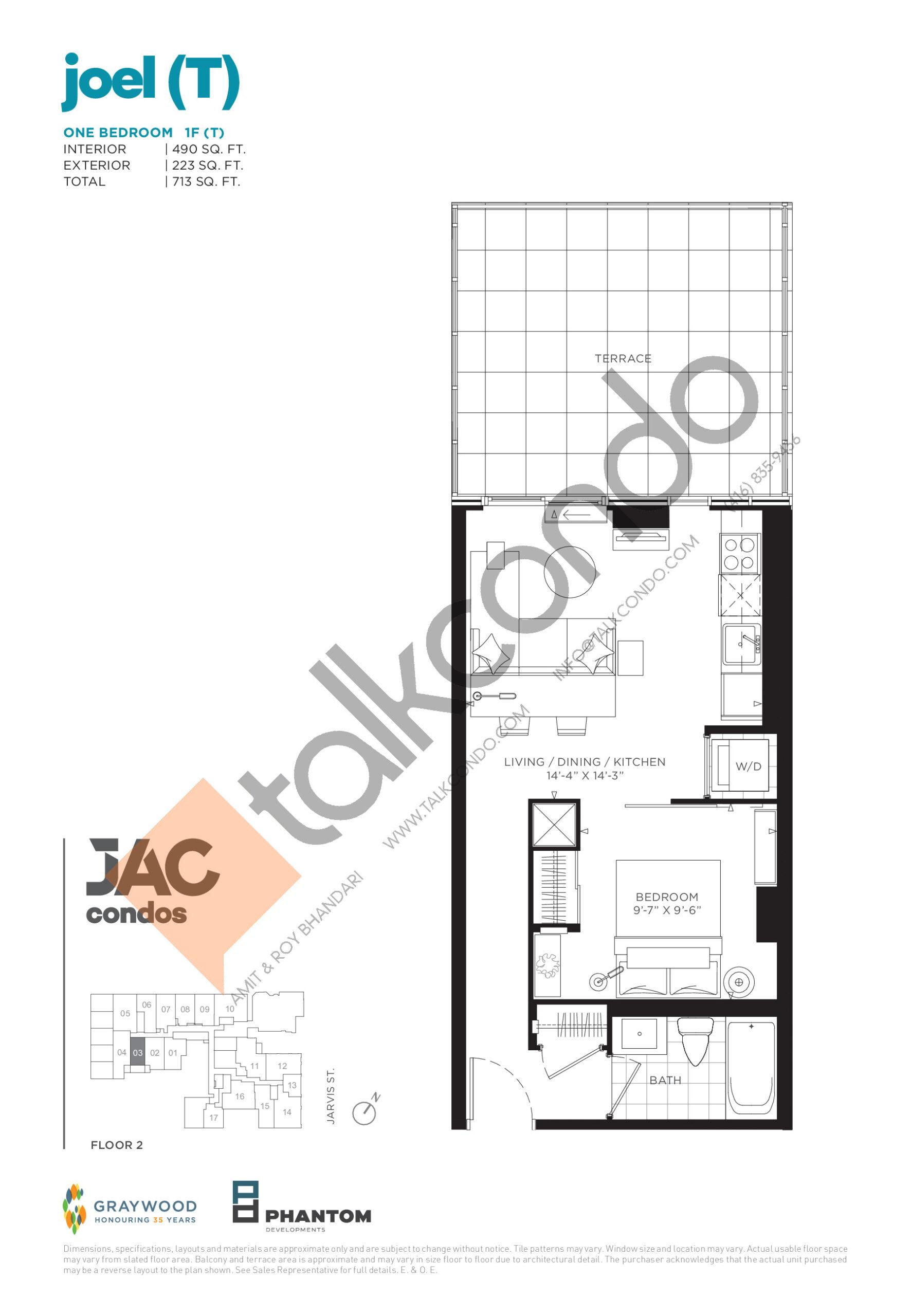Joel (T) Floor Plan at JAC Condos - 490 sq.ft