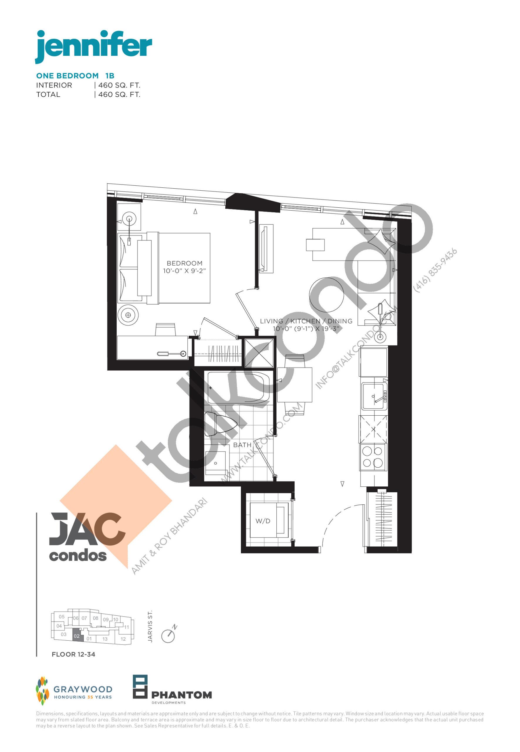Jennifer Floor Plan at JAC Condos - 460 sq.ft