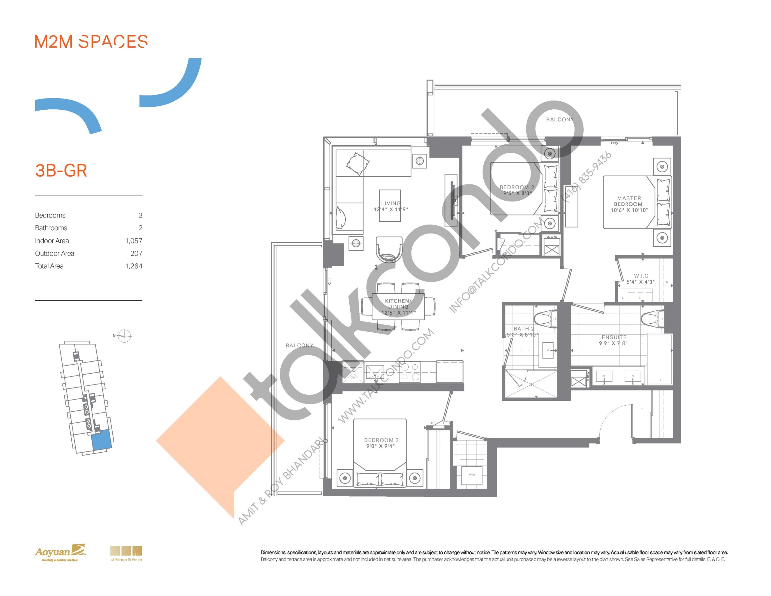 3B-GR (Bright Collection) Floor Plan at M2M Spaces Condos - 1057 sq.ft