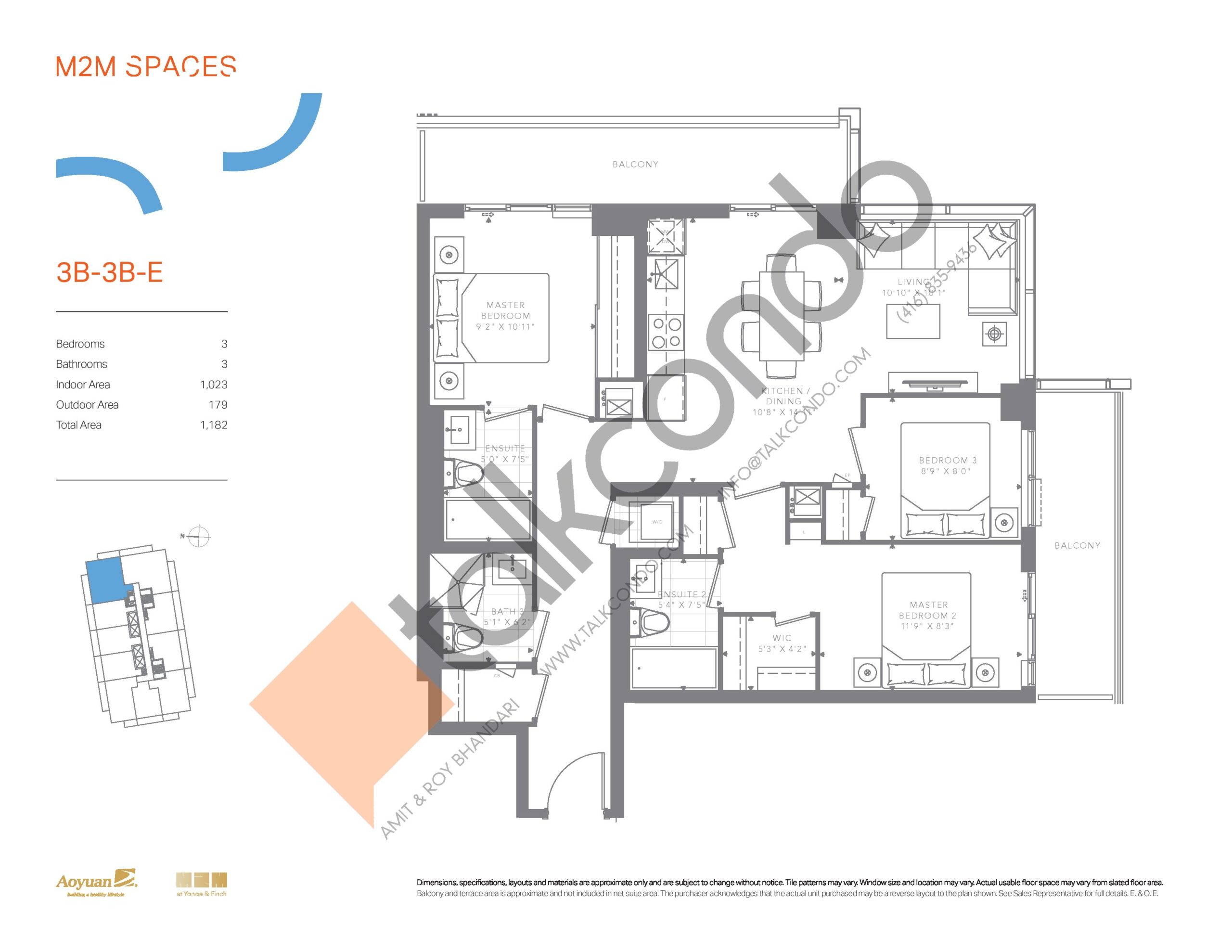 3B-3B-E (Bright Collection) Floor Plan at M2M Spaces Condos - 1023 sq.ft