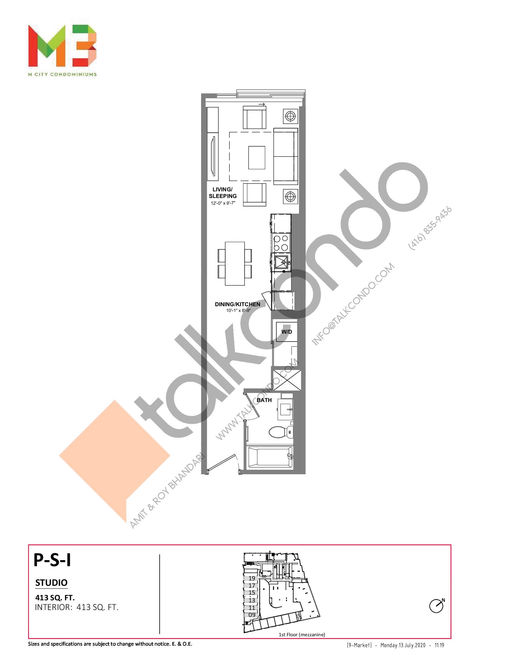 P-S-I Floor Plan at M3 Condos - 413 sq.ft