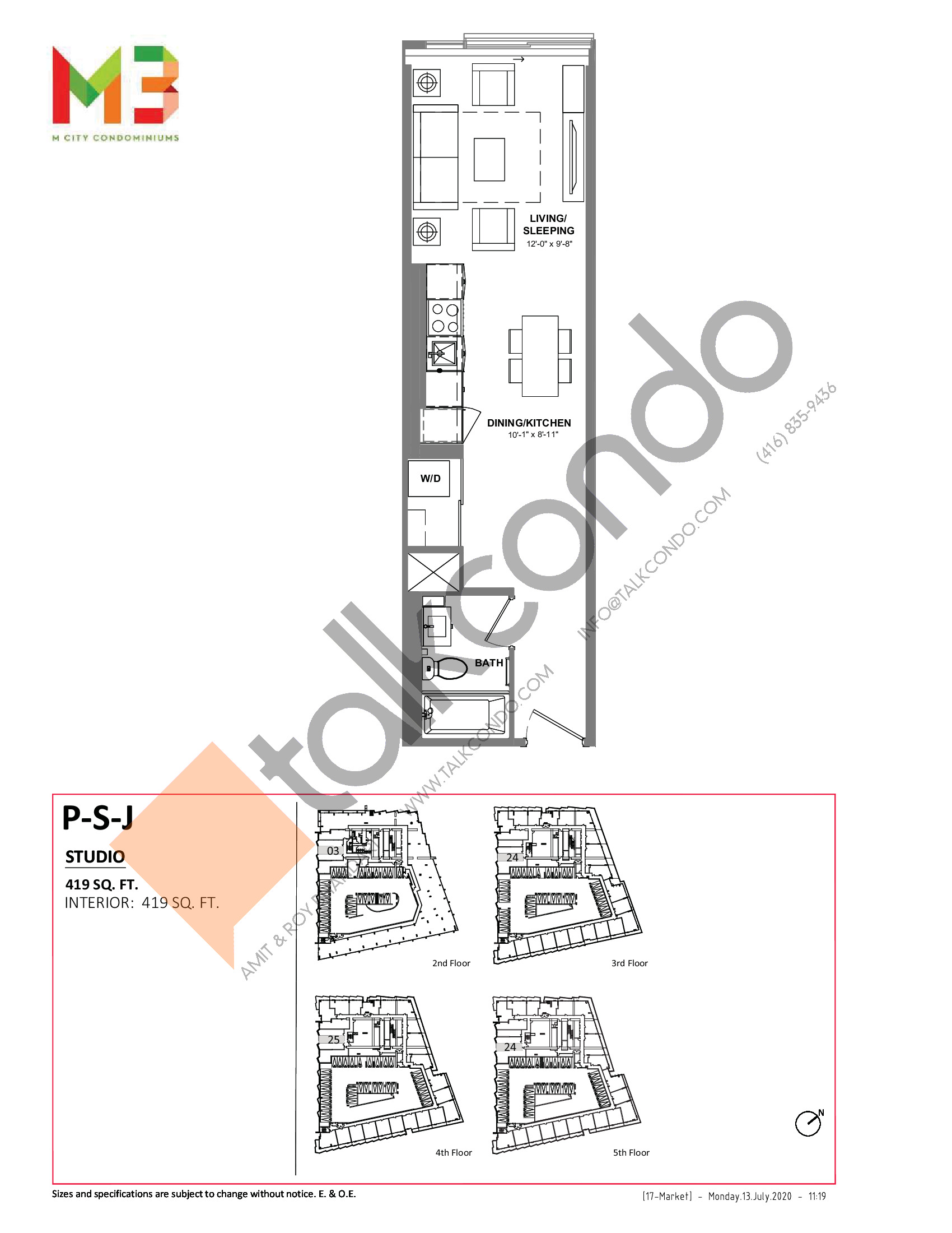 P-S-J Floor Plan at M3 Condos - 419 sq.ft