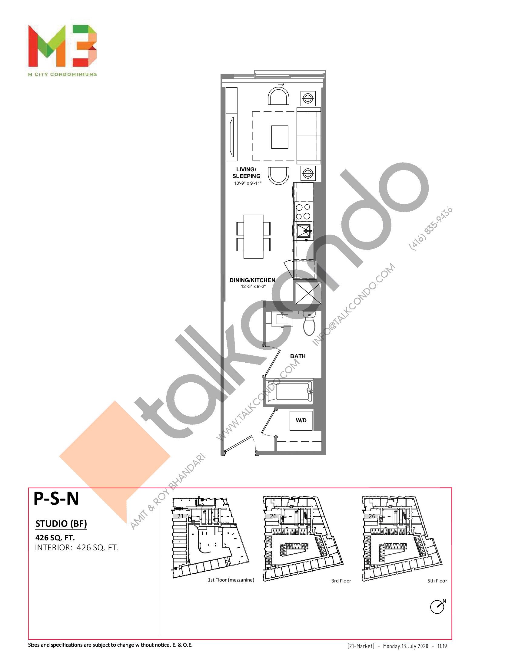 P-S-N Floor Plan at M3 Condos - 426 sq.ft