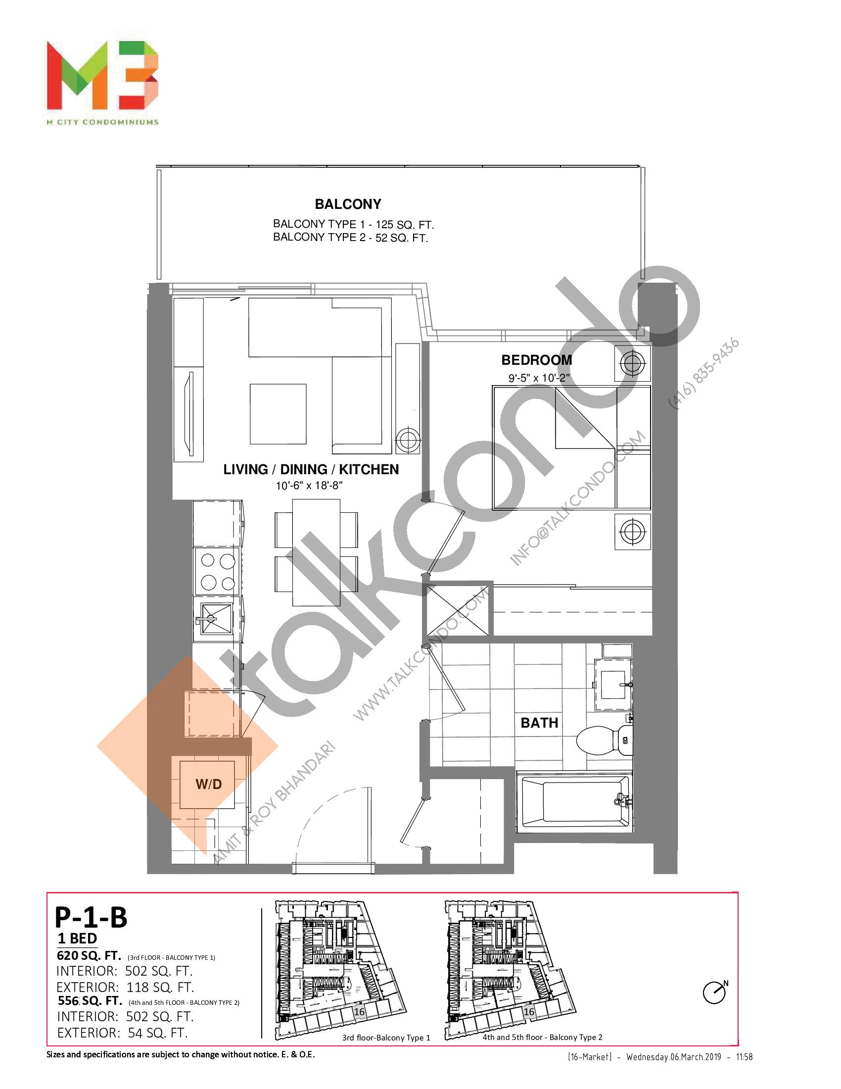 P-1-B Floor Plan at M3 Condos - 502 sq.ft