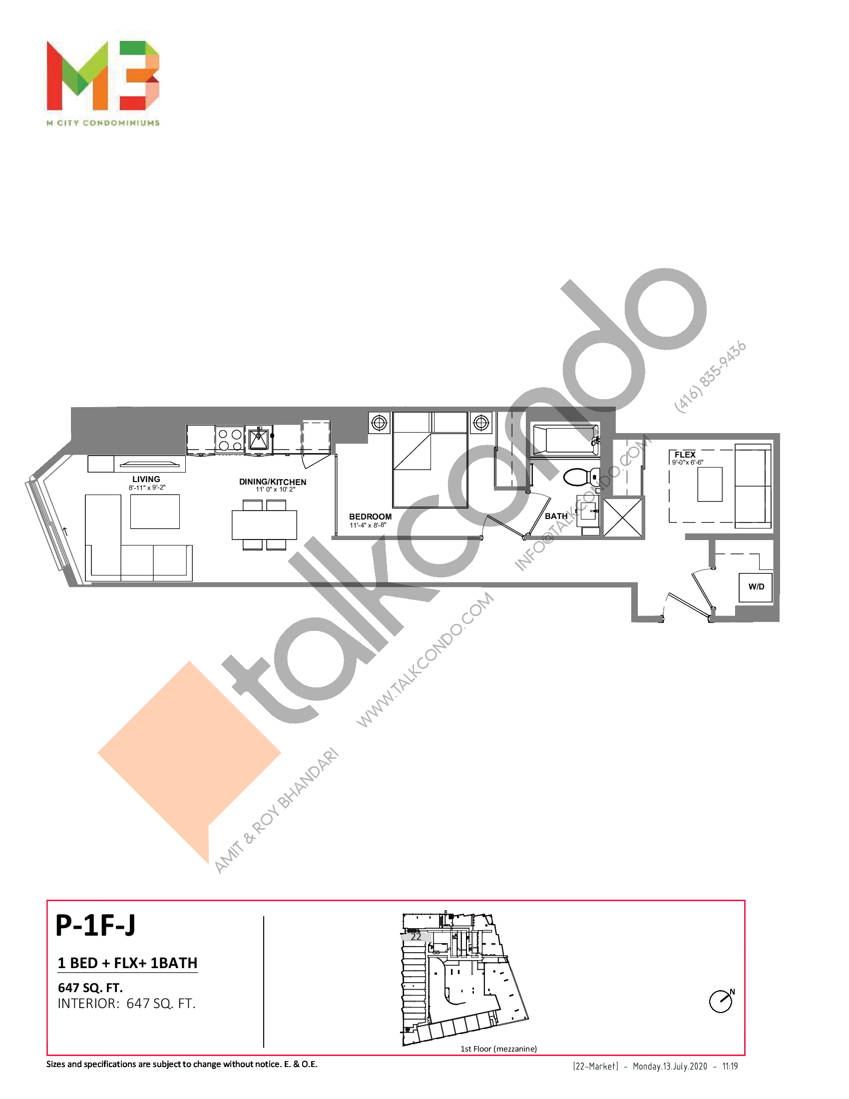 P-1F-J Floor Plan at M3 Condos - 647 sq.ft