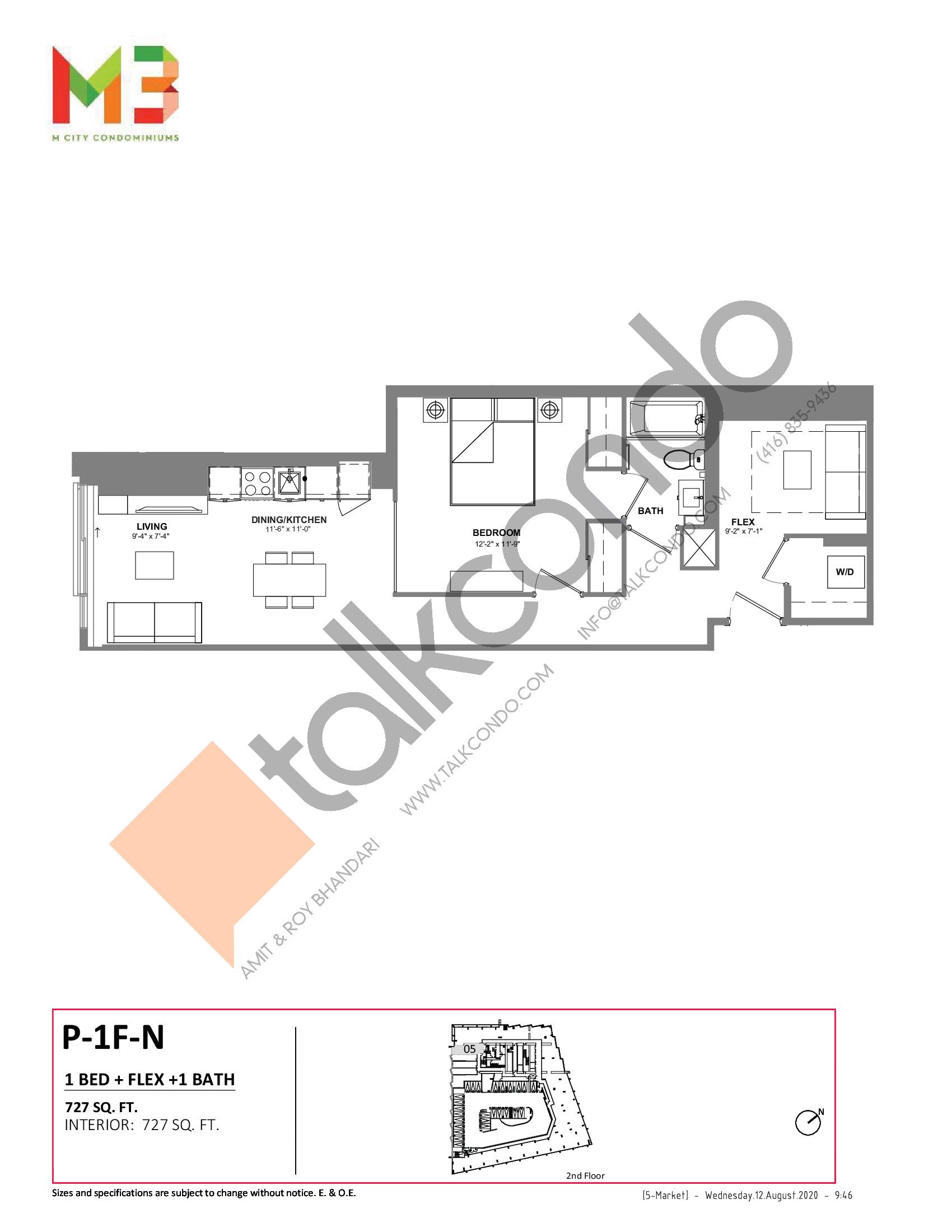 P-1F-N Floor Plan at M3 Condos - 727 sq.ft