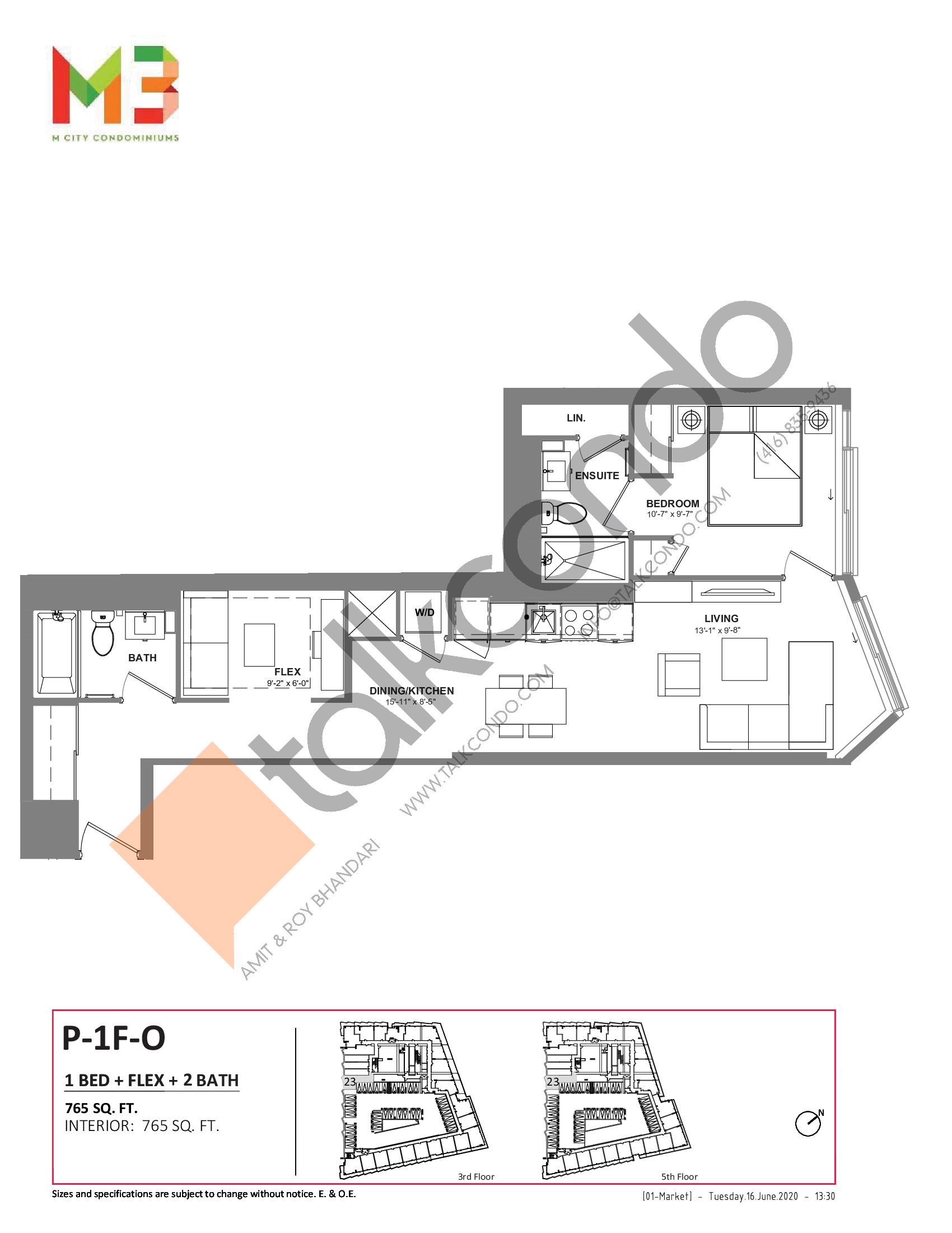P-1F-O Floor Plan at M3 Condos - 765 sq.ft