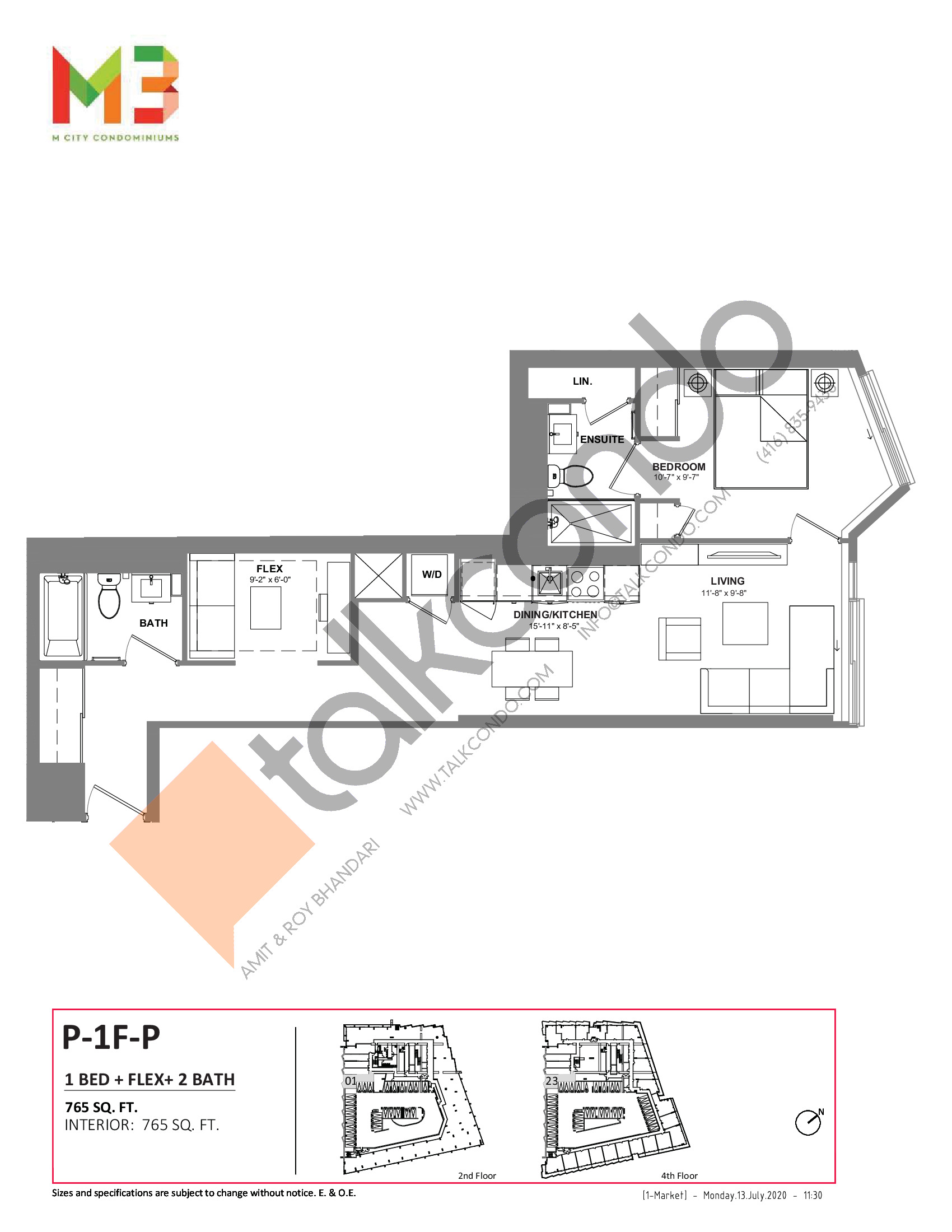 P-1F-P Floor Plan at M3 Condos - 765 sq.ft