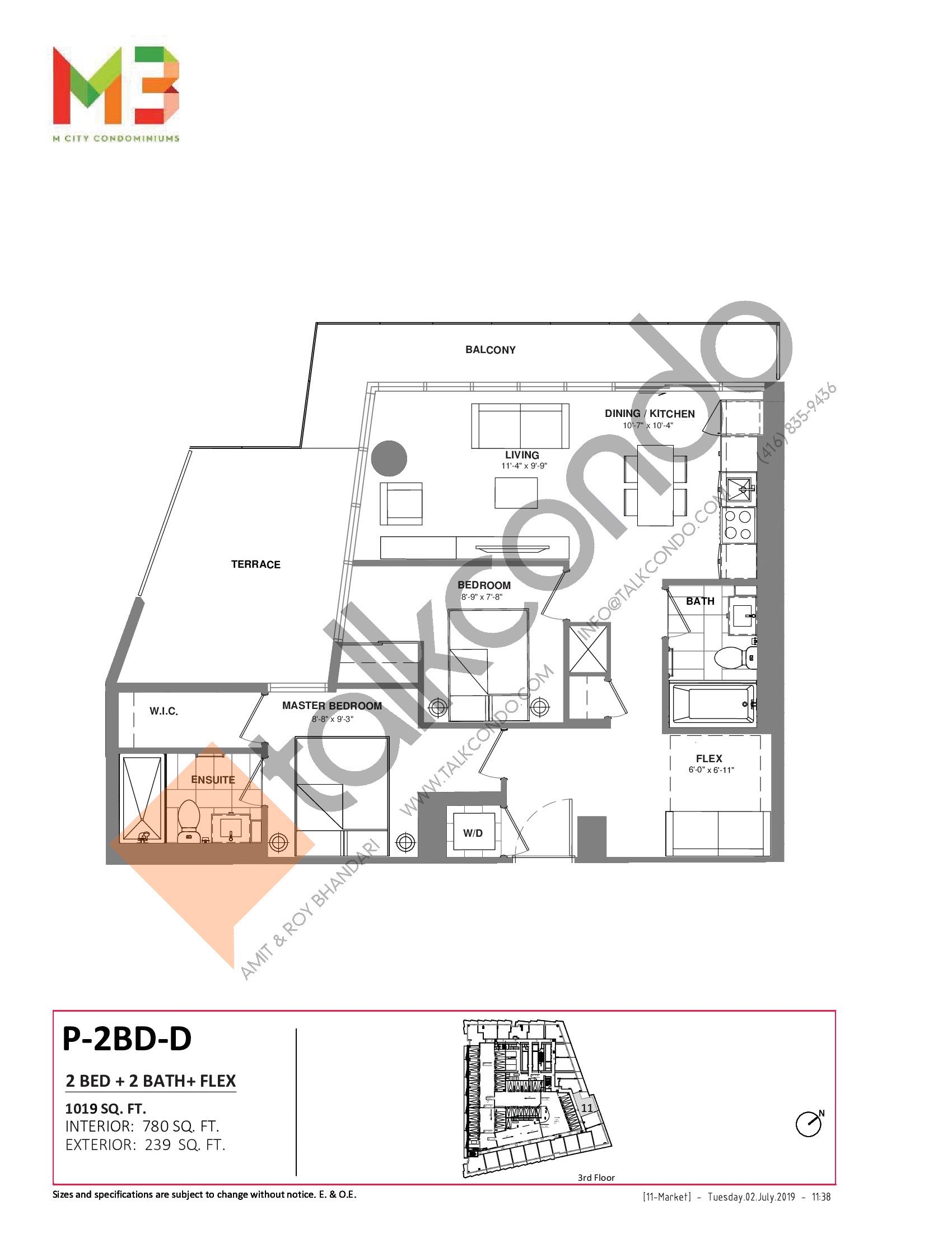 P-2BD-D Floor Plan at M3 Condos - 780 sq.ft