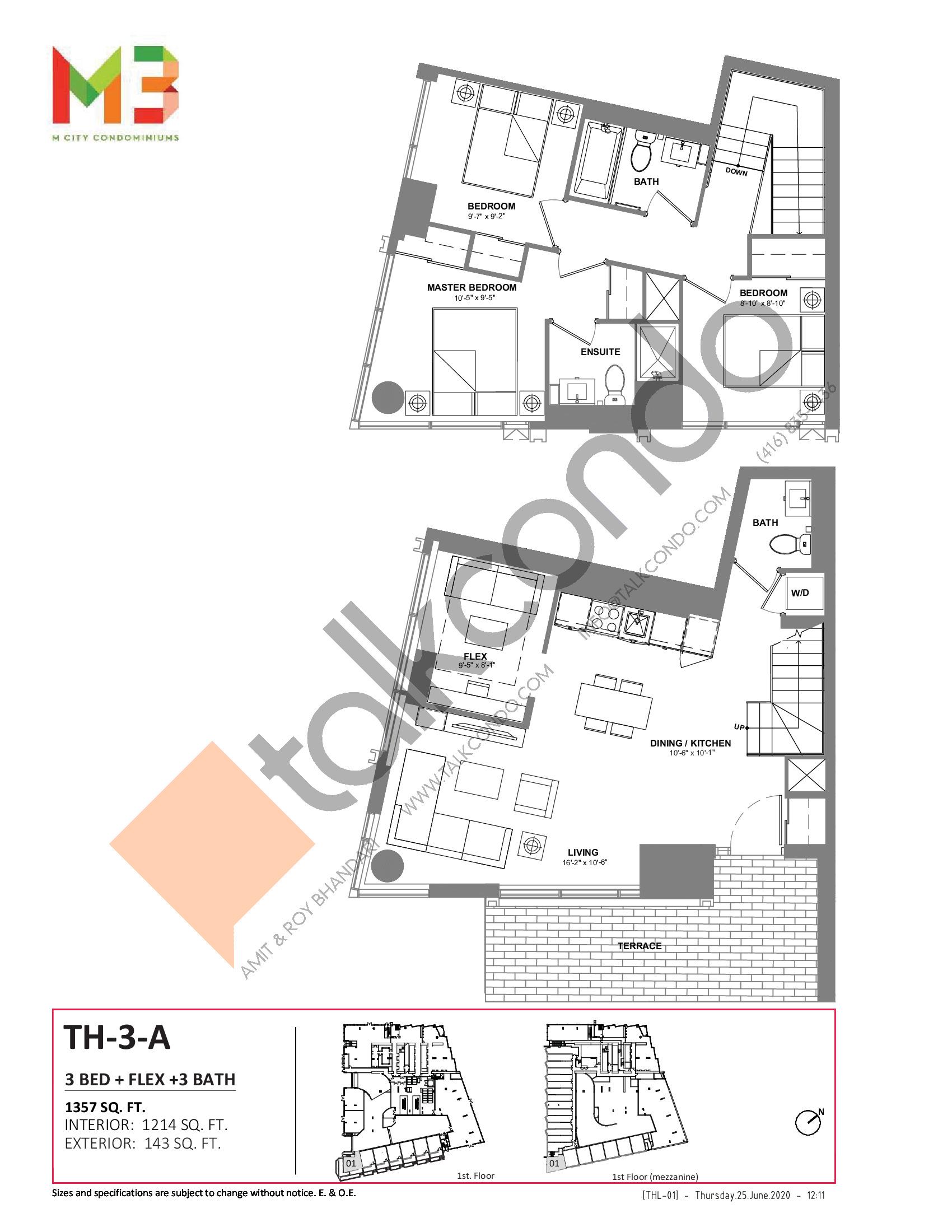 TH-3-A Floor Plan at M3 Condos - 1214 sq.ft