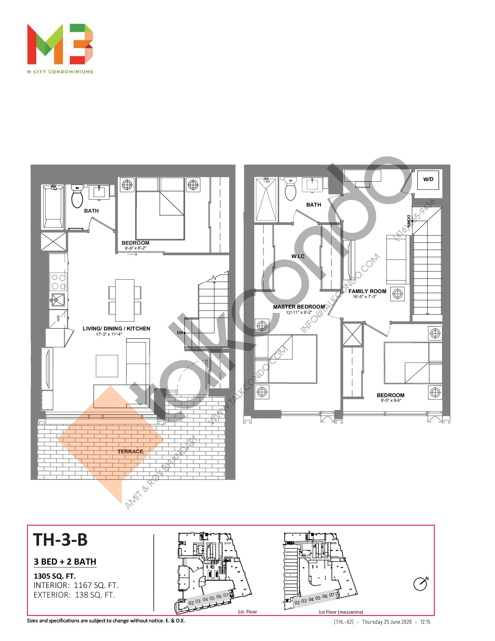 TH-3-B Floor Plan at M3 Condos - 1167 sq.ft
