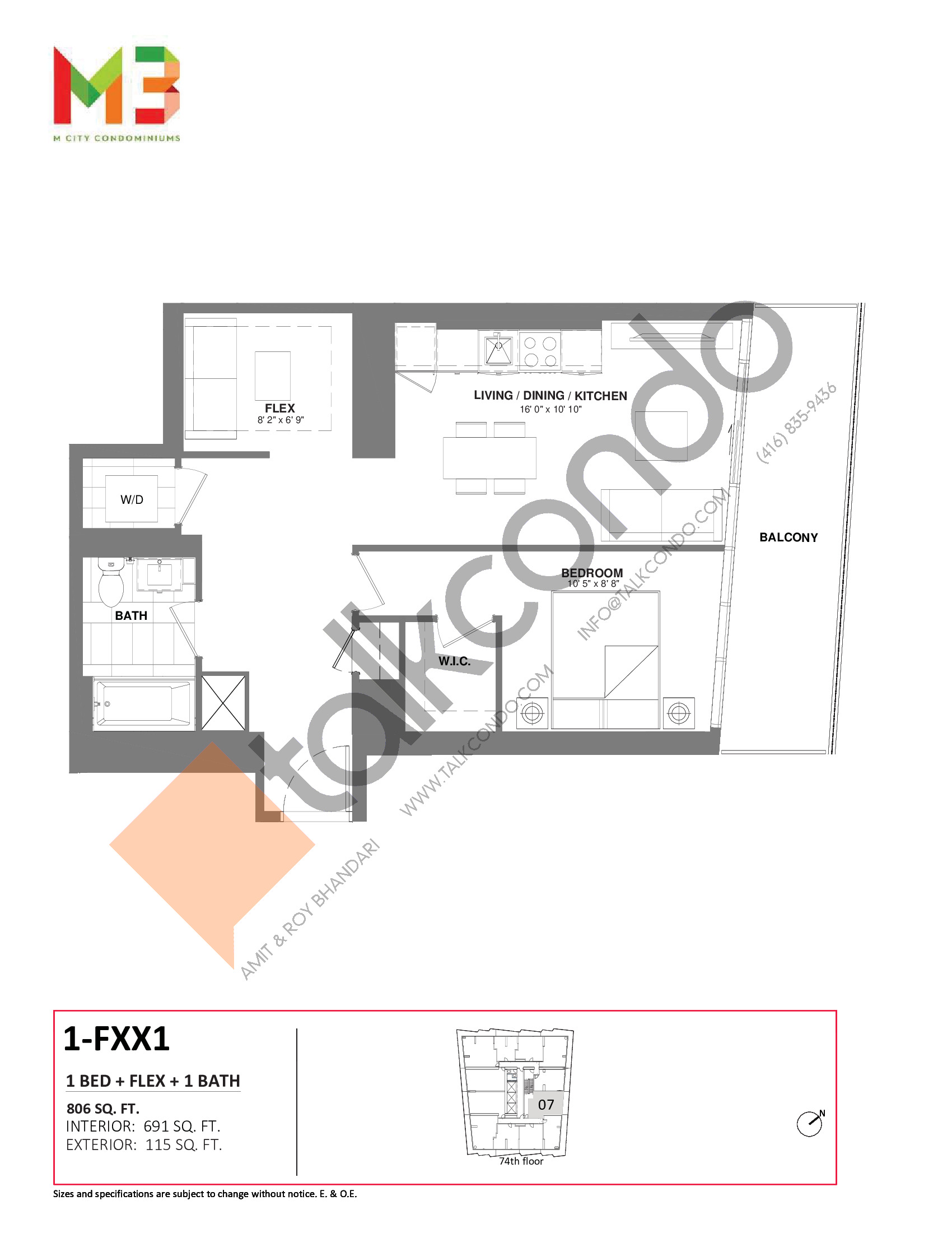 1-FXX1 Floor Plan at M3 Condos - 691 sq.ft