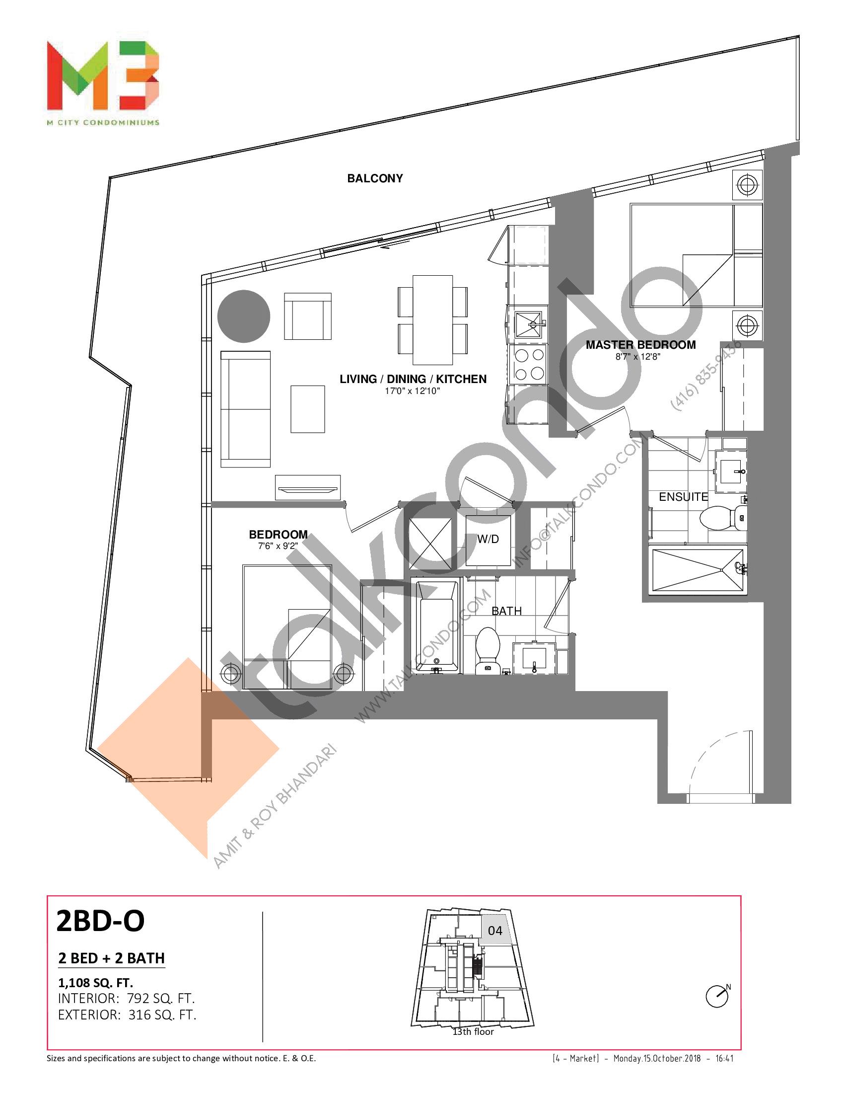 2BD-O Floor Plan at M3 Condos - 792 sq.ft