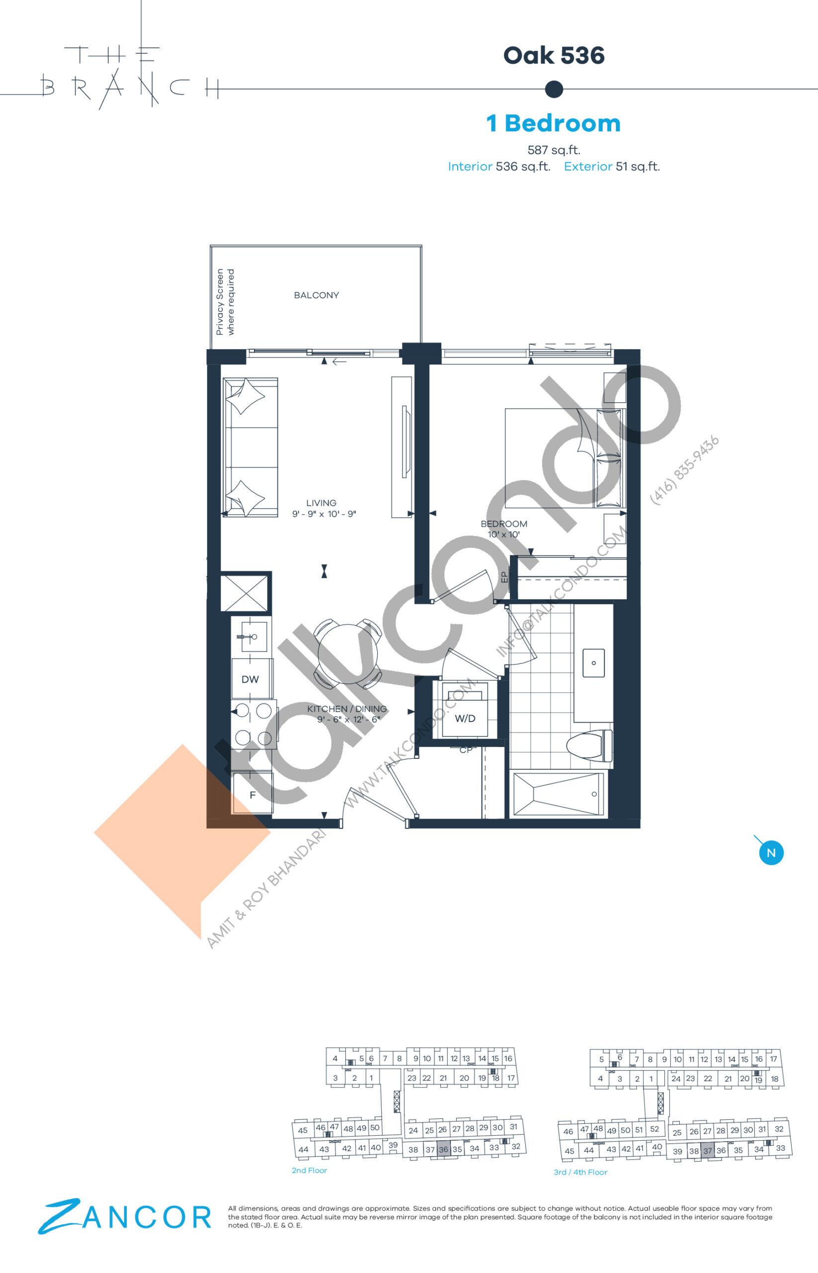 Oak 536 Floor Plan at The Branch Condos - 536 sq.ft