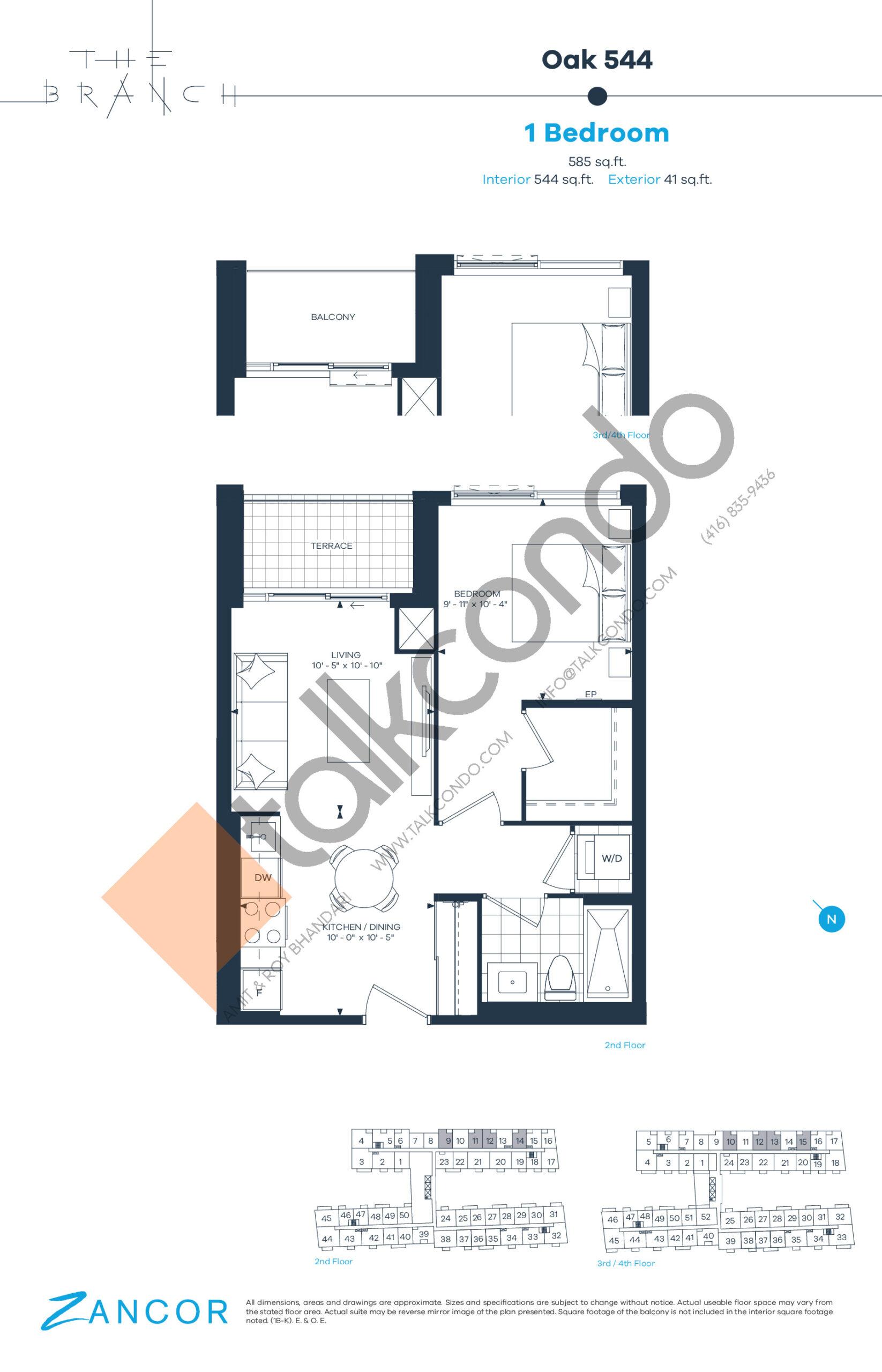 Oak 544 Floor Plan at The Branch Condos - 544 sq.ft