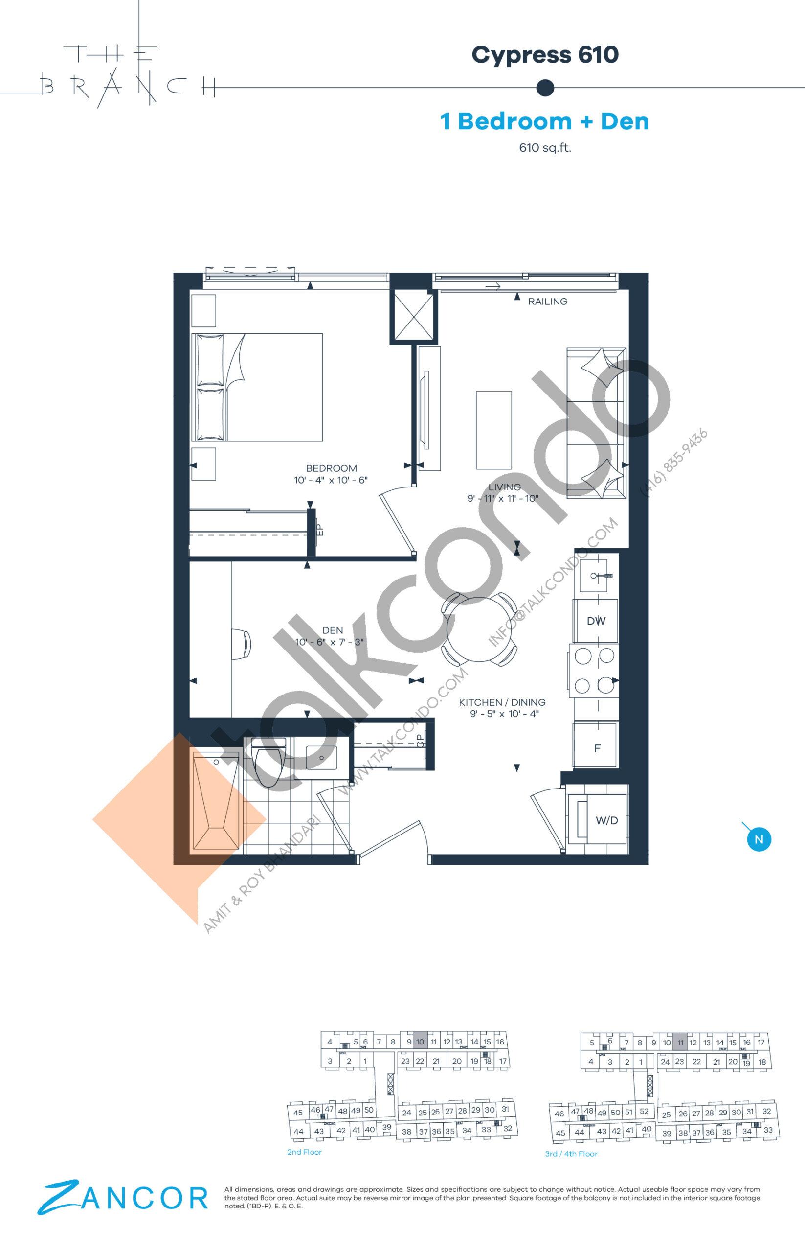 Cypress 610 Floor Plan at The Branch Condos - 610 sq.ft