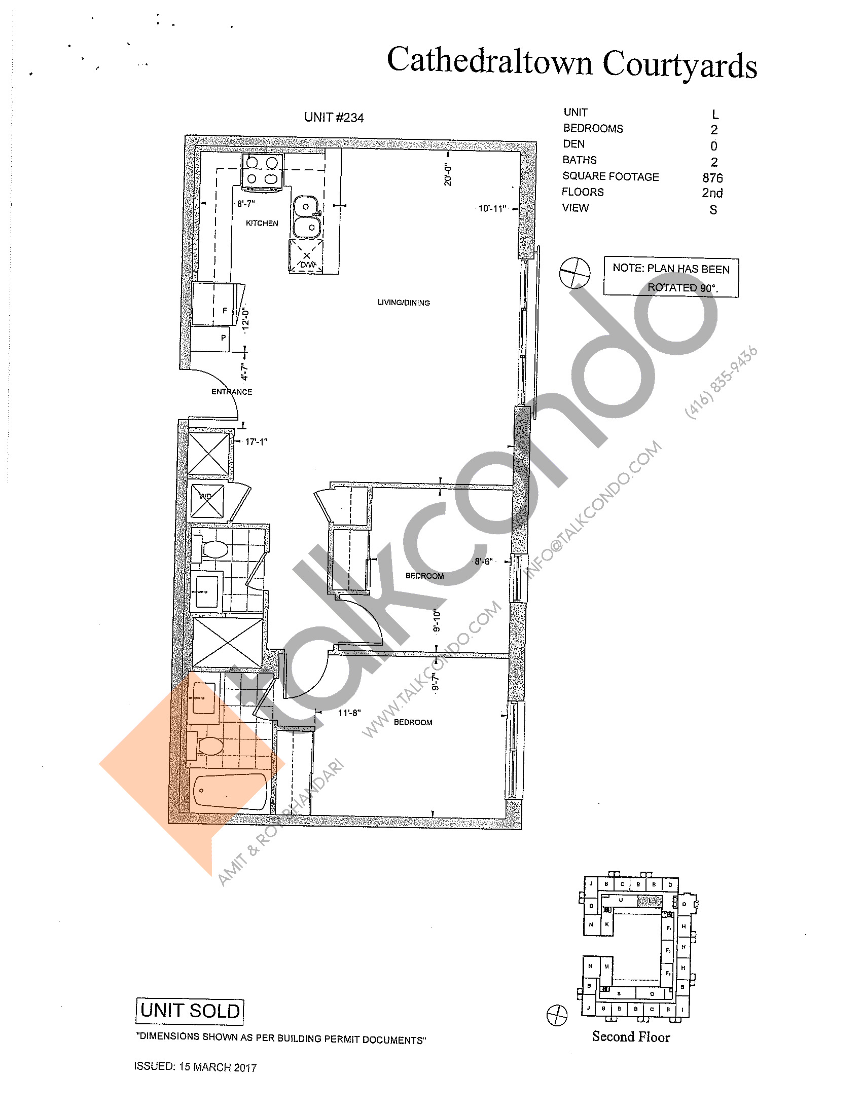 Unit L Floor Plan at The Courtyards at Cathedraltown Condos - 876 sq.ft
