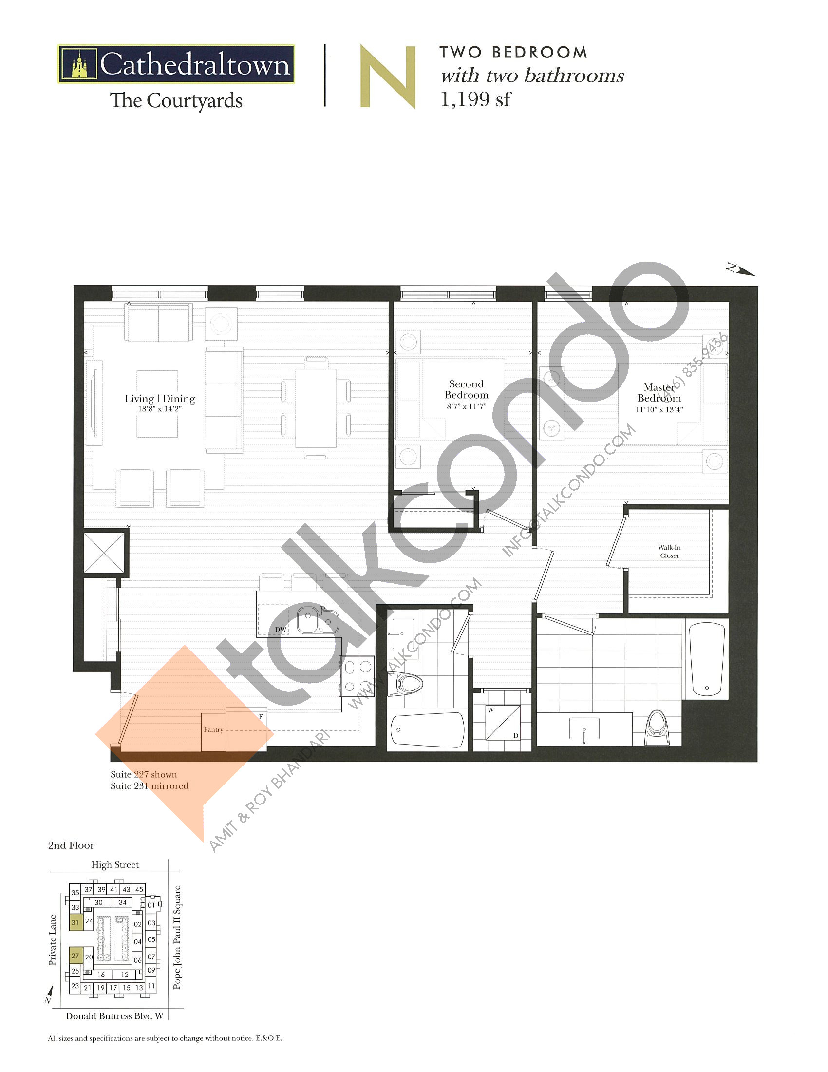 Unit N Floor Plan at The Courtyards at Cathedraltown Condos - 1199 sq.ft