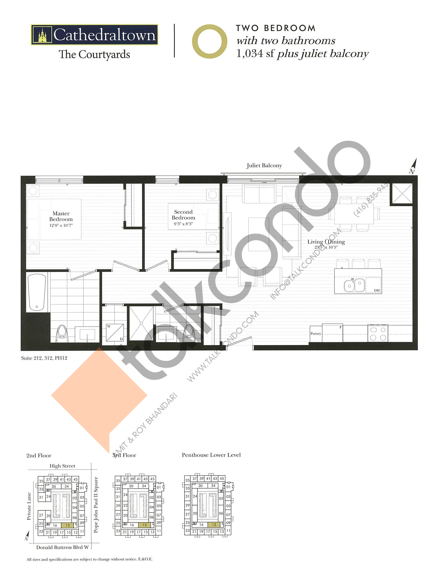 Unit O Floor Plan at The Courtyards at Cathedraltown Condos - 1034 sq.ft