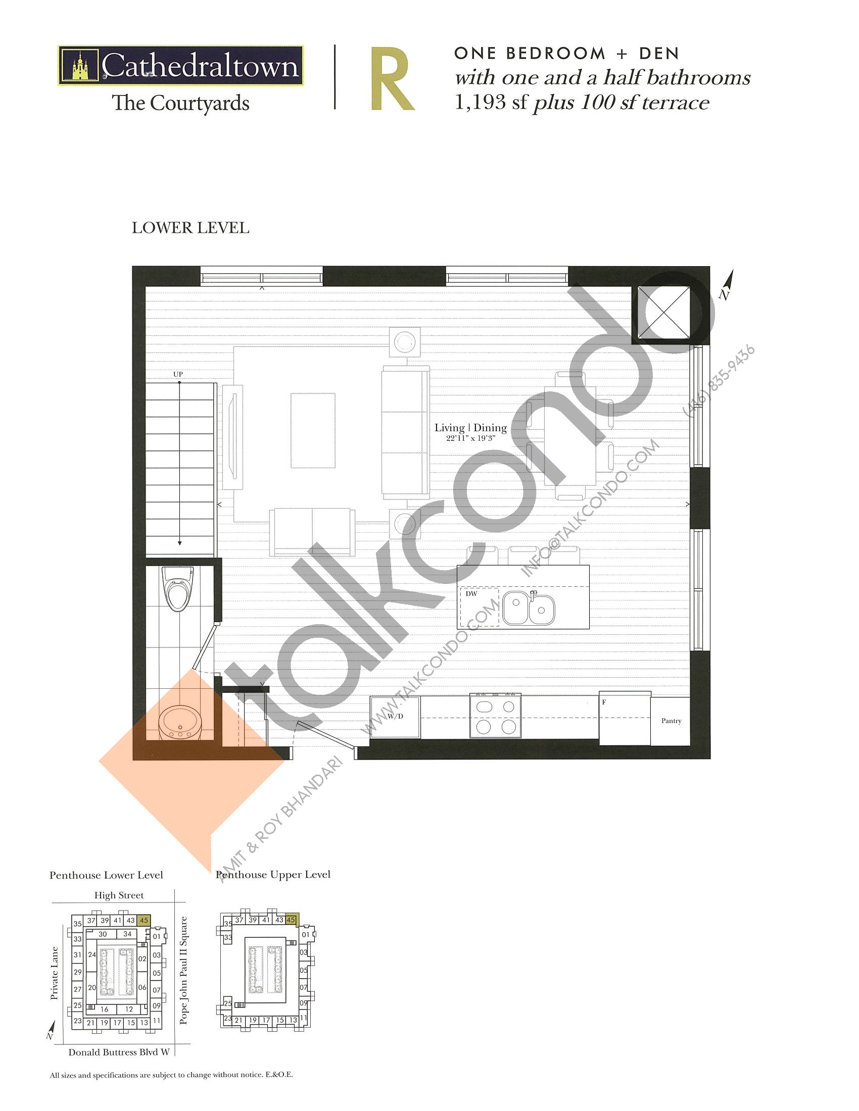 Unit R (Lower) Floor Plan at The Courtyards at Cathedraltown Condos - 1193 sq.ft