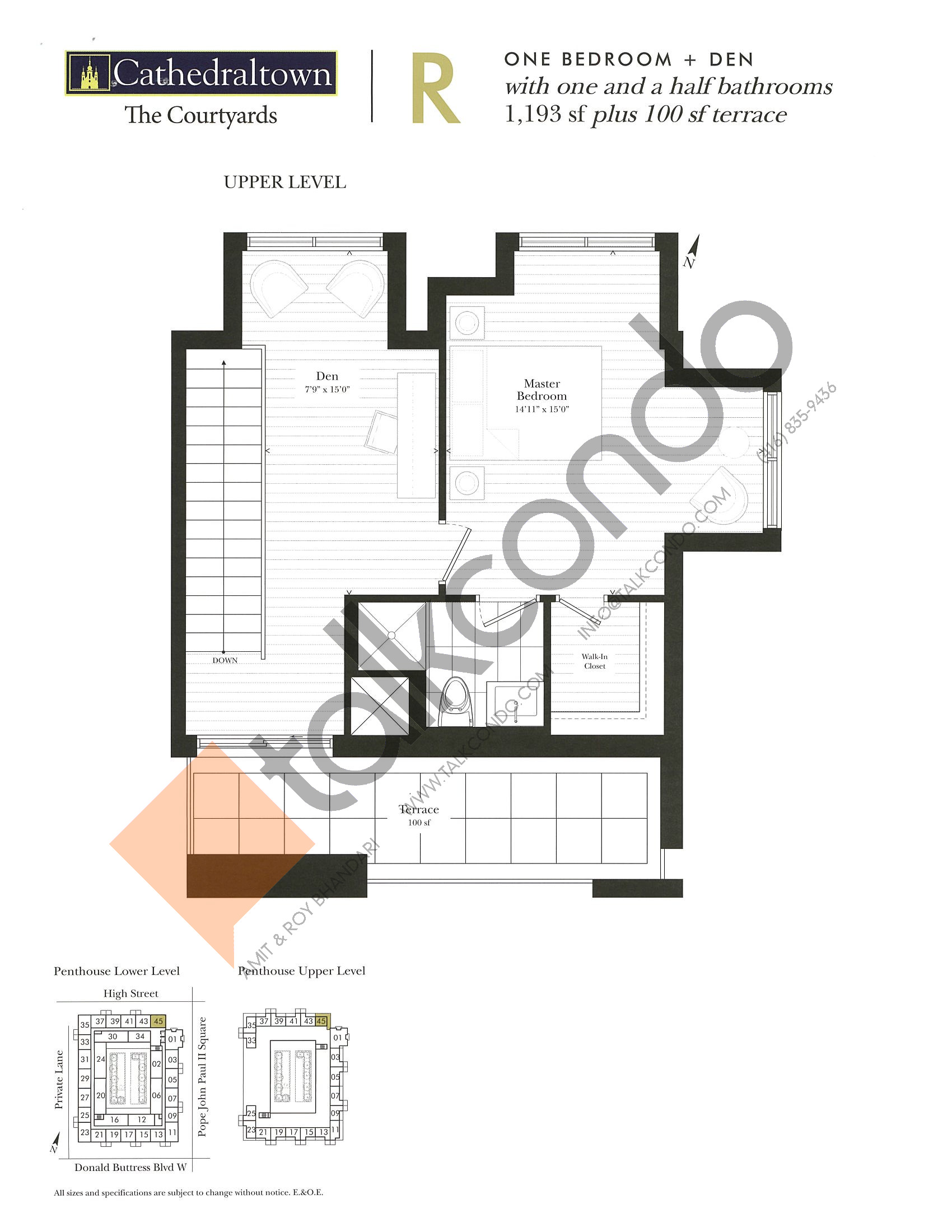 Unit R (Upper) Floor Plan at The Courtyards at Cathedraltown Condos - 1193 sq.ft