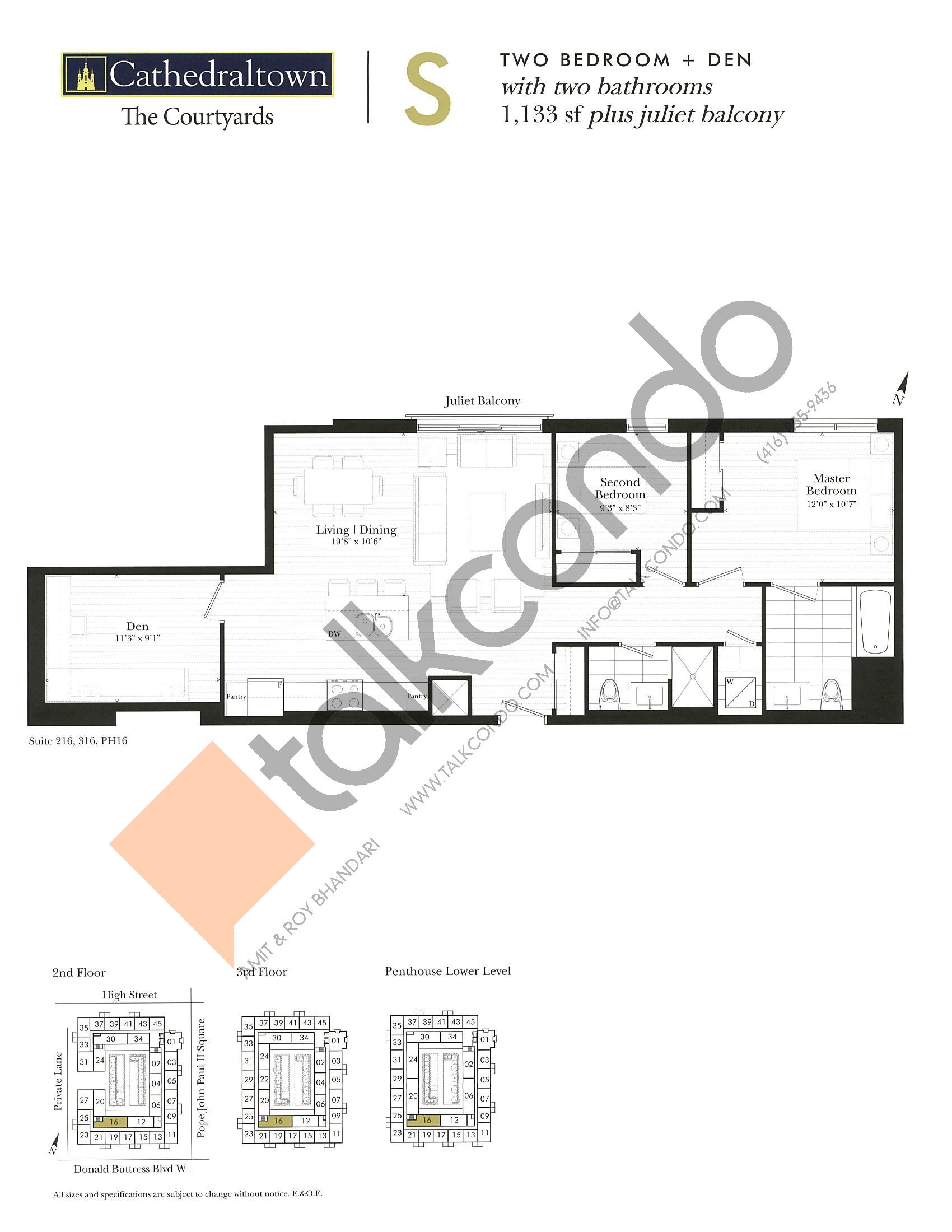 Unit S Floor Plan at The Courtyards at Cathedraltown Condos - 1133 sq.ft