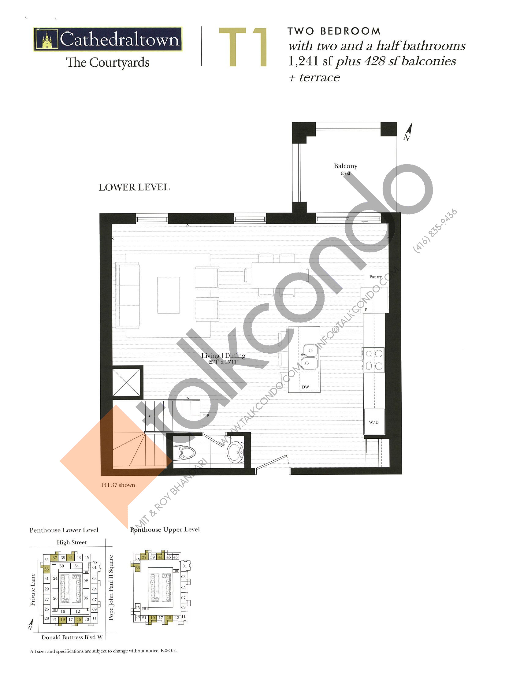 Unit T1 (Lower) Floor Plan at The Courtyards at Cathedraltown Condos - 1241 sq.ft