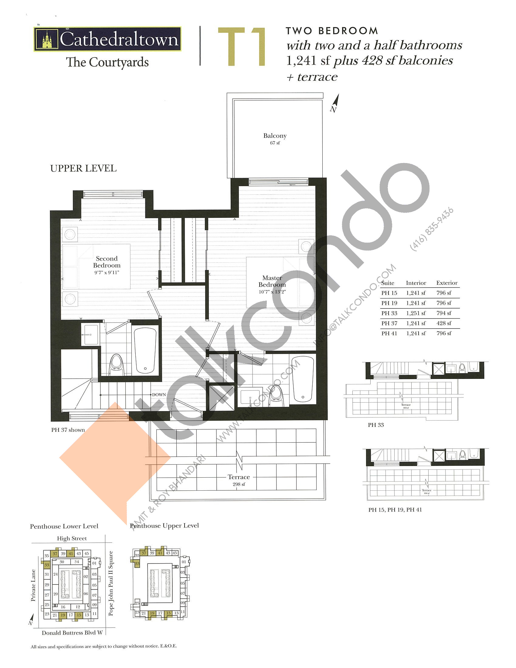 Unit T1 (Upper) Floor Plan at The Courtyards at Cathedraltown Condos - 1241 sq.ft