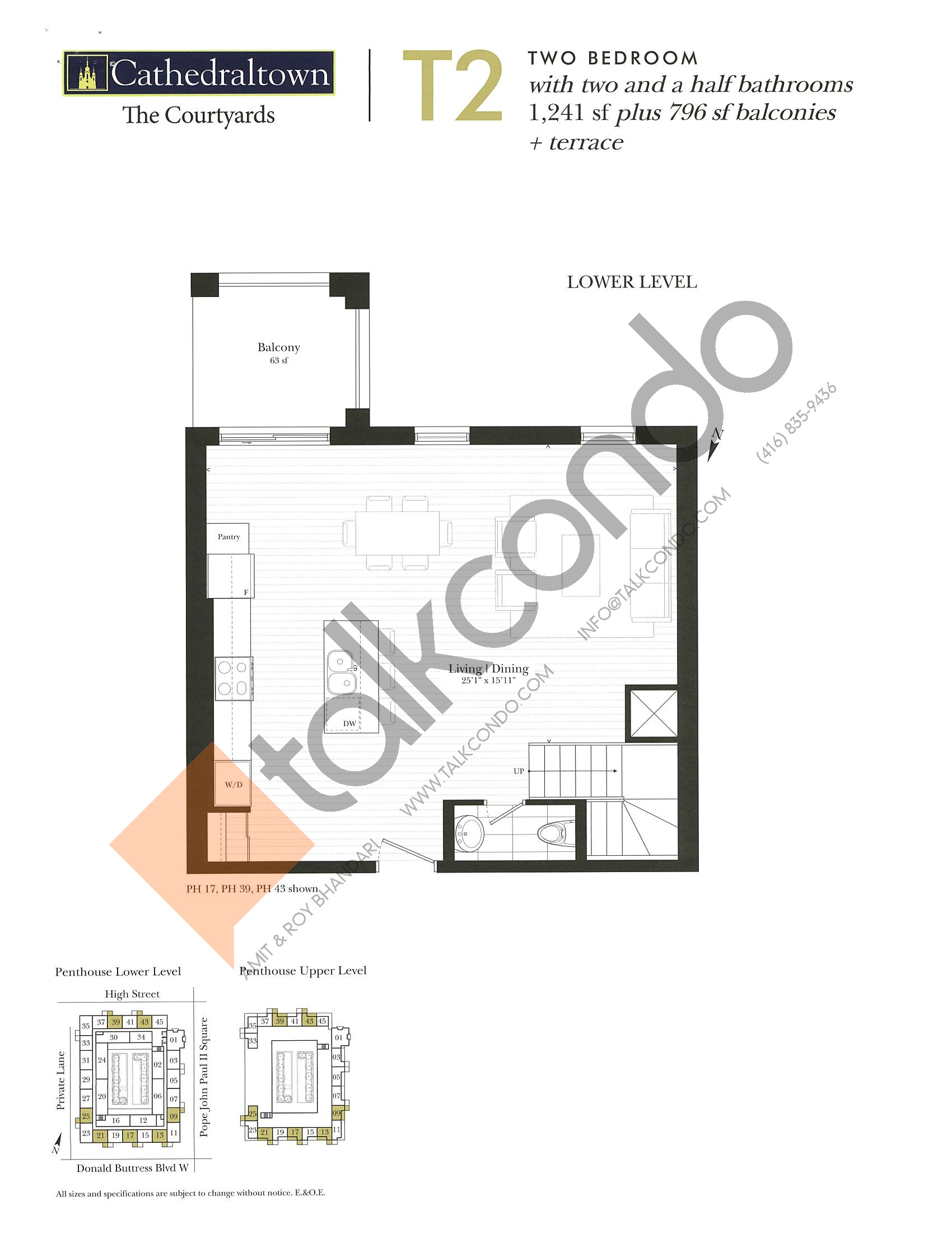 Unit T2 (Lower) Floor Plan at The Courtyards at Cathedraltown Condos - 1241 sq.ft