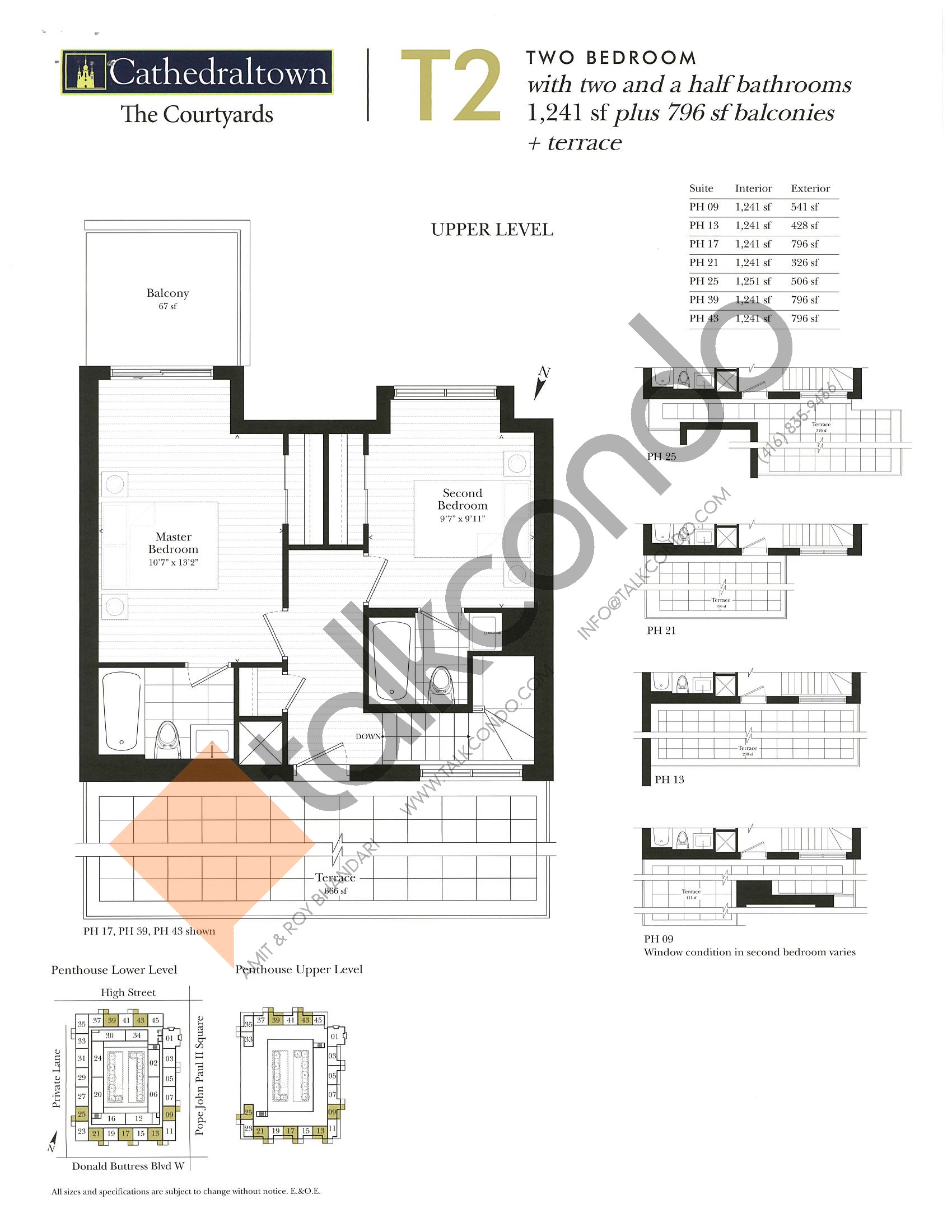 Unit T2 (Upper) Floor Plan at The Courtyards at Cathedraltown Condos - 1241 sq.ft