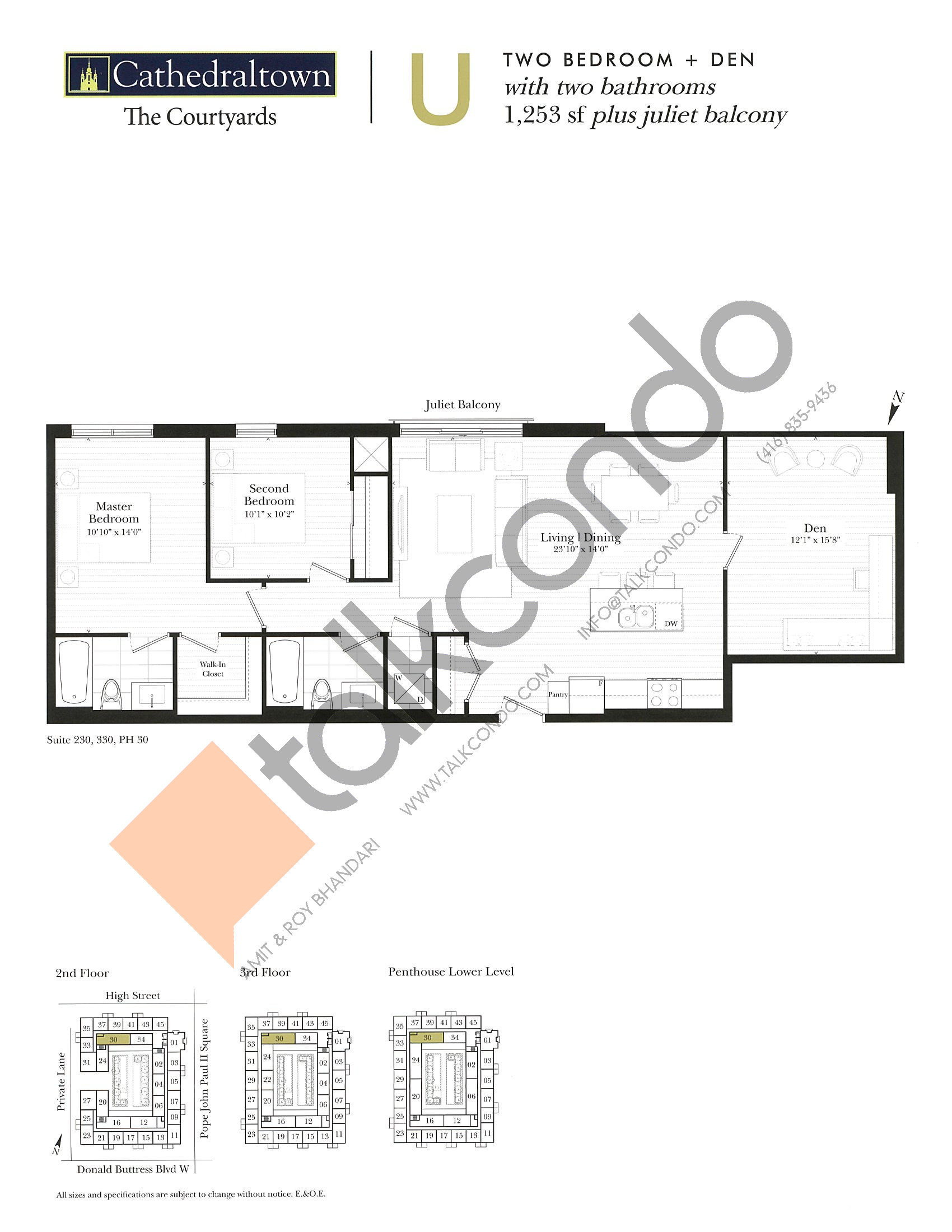 Unit U Floor Plan at The Courtyards at Cathedraltown Condos - 1253 sq.ft