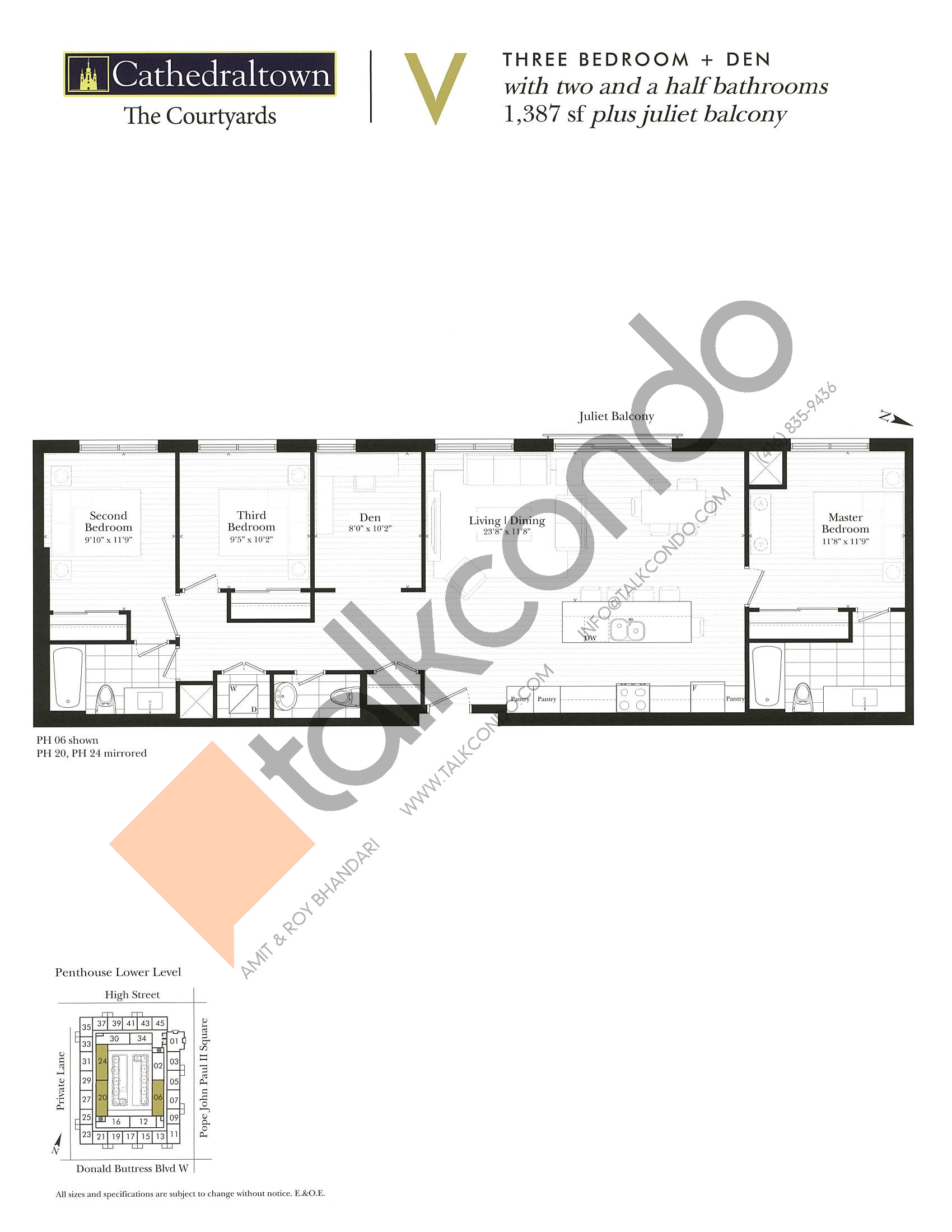 Unit V Floor Plan at The Courtyards at Cathedraltown Condos - 1387 sq.ft