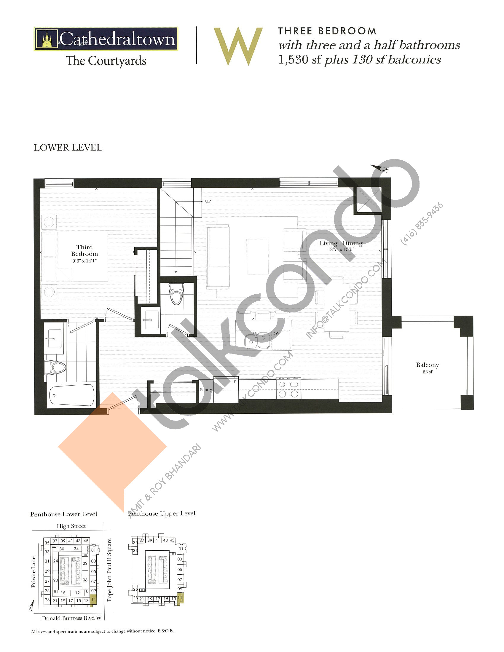 Unit W (Lower) Floor Plan at The Courtyards at Cathedraltown Condos - 1530 sq.ft