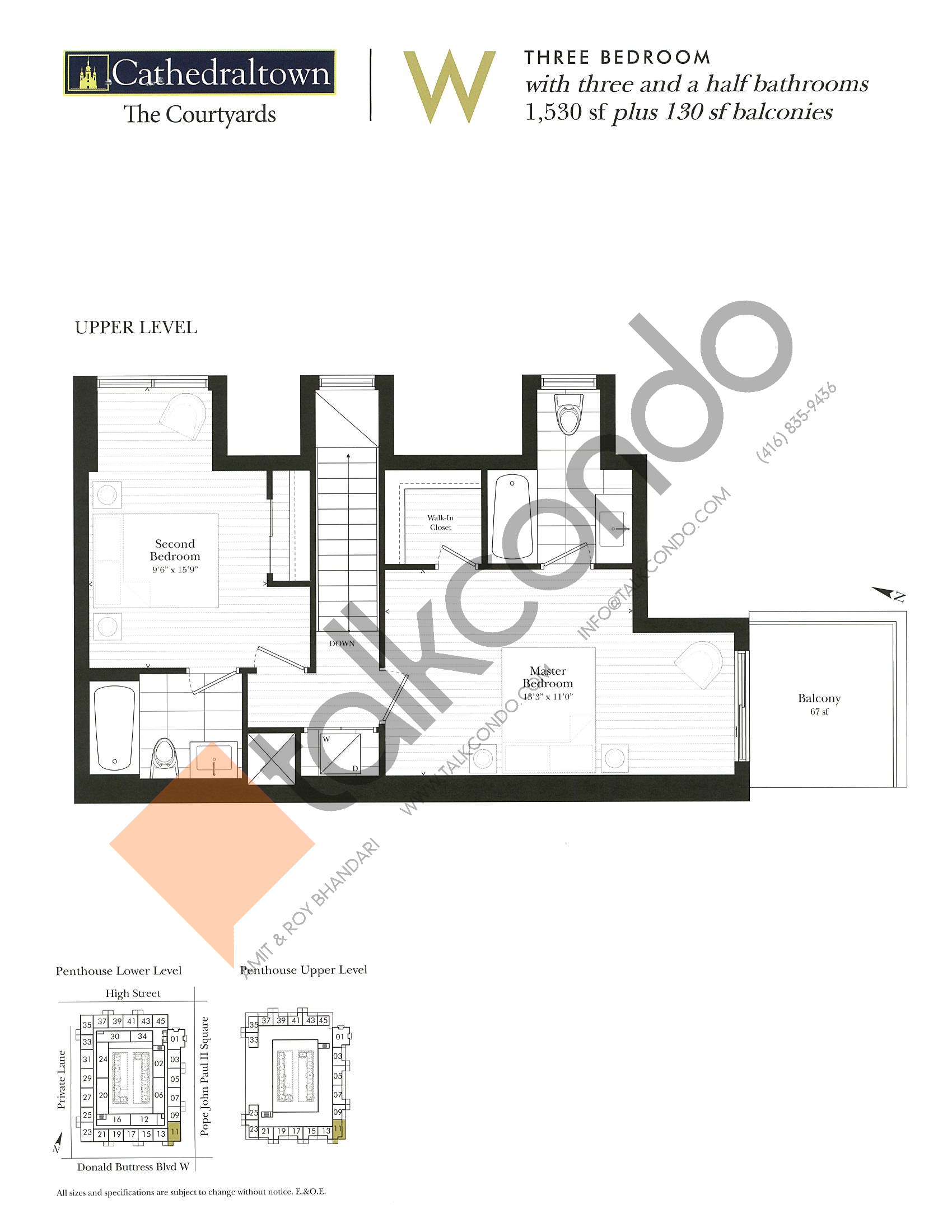 Unit W (Upper) Floor Plan at The Courtyards at Cathedraltown Condos - 1530 sq.ft