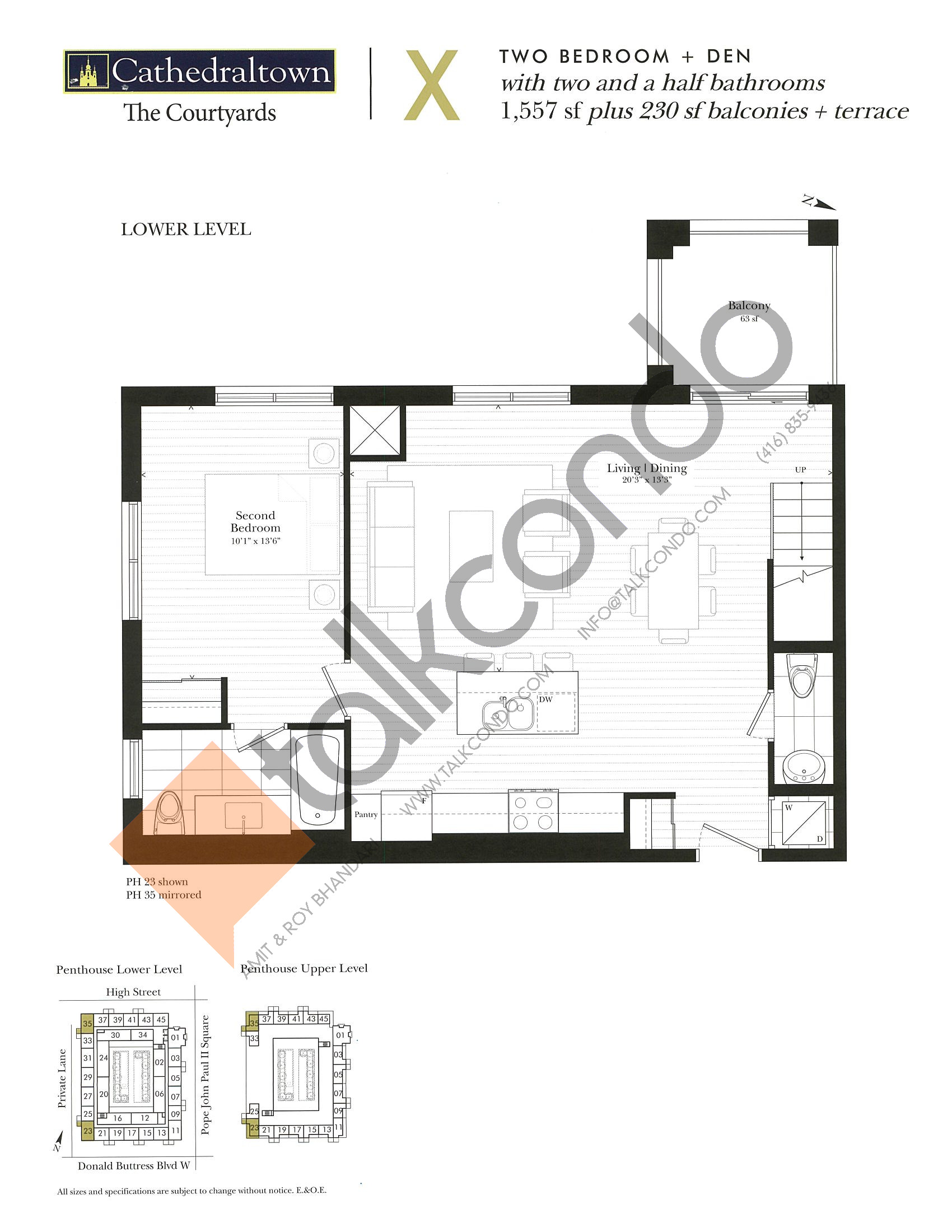 Unit X (Lower) Floor Plan at The Courtyards at Cathedraltown Condos - 1557 sq.ft