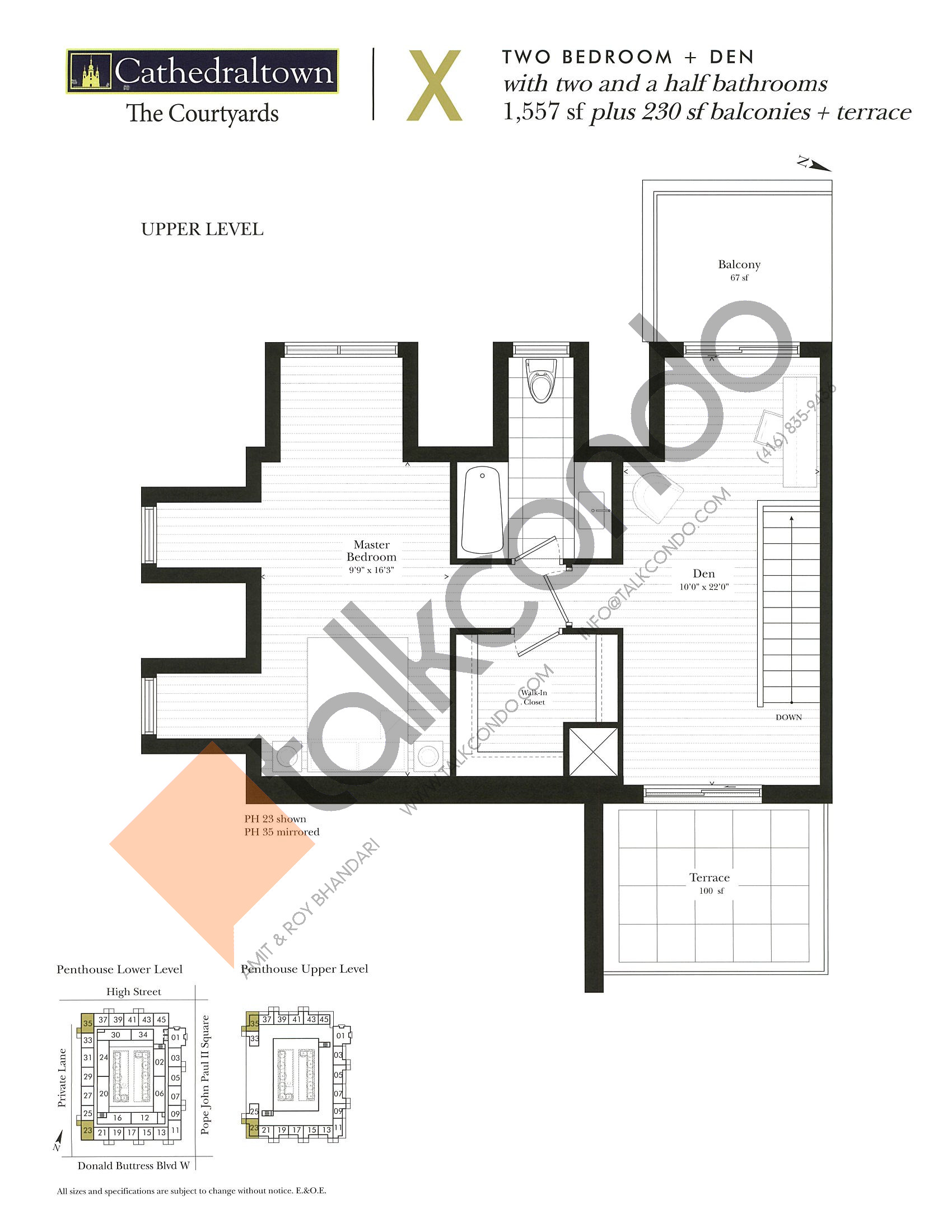 Unit X (Upper) Floor Plan at The Courtyards at Cathedraltown Condos - 1557 sq.ft