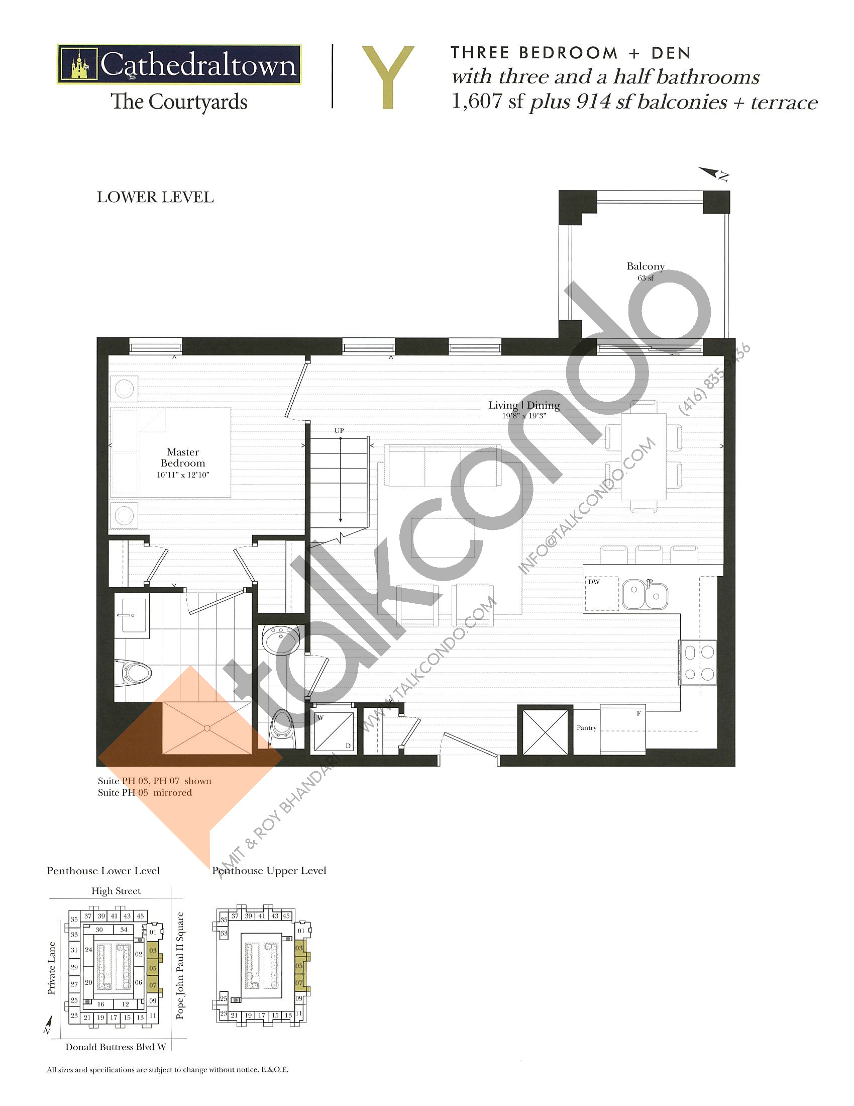Unit Y (Lower) Floor Plan at The Courtyards at Cathedraltown Condos - 1607 sq.ft